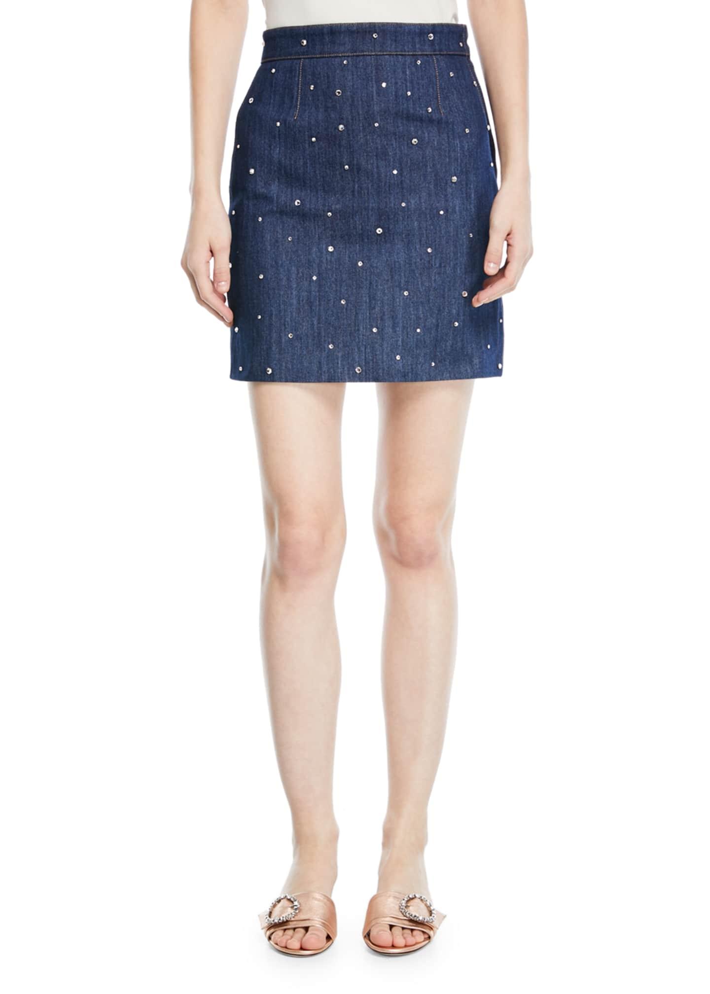Miu Miu Crystal-Studded Denim Mini Skirt