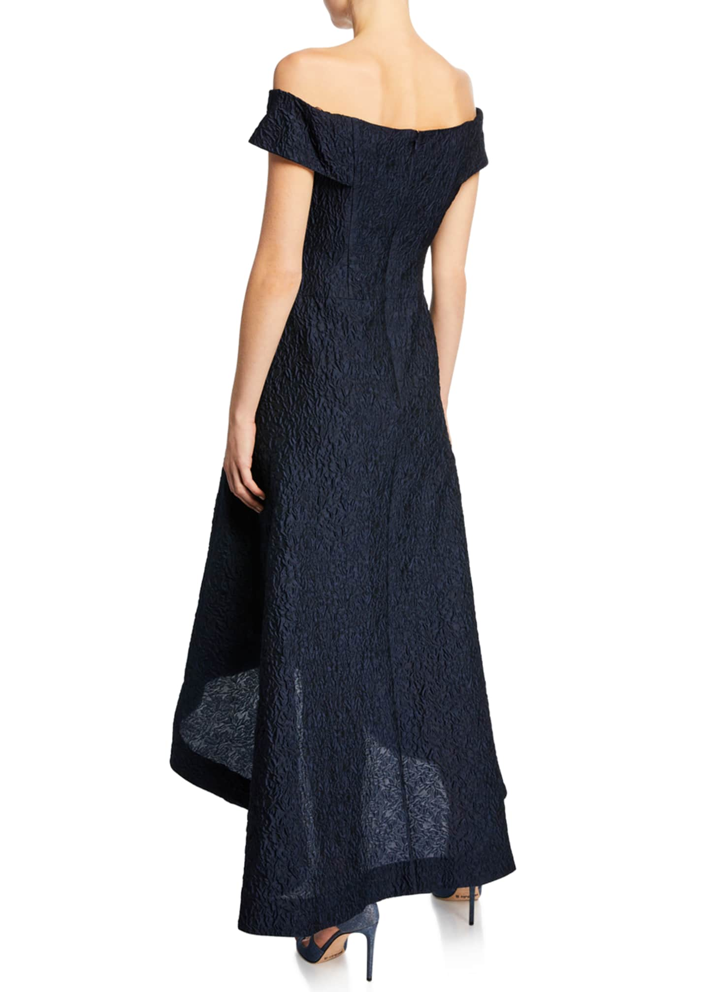 Image 2 of 2: Taffeta Off-the-Shoulder High-Low Cocktail Dress