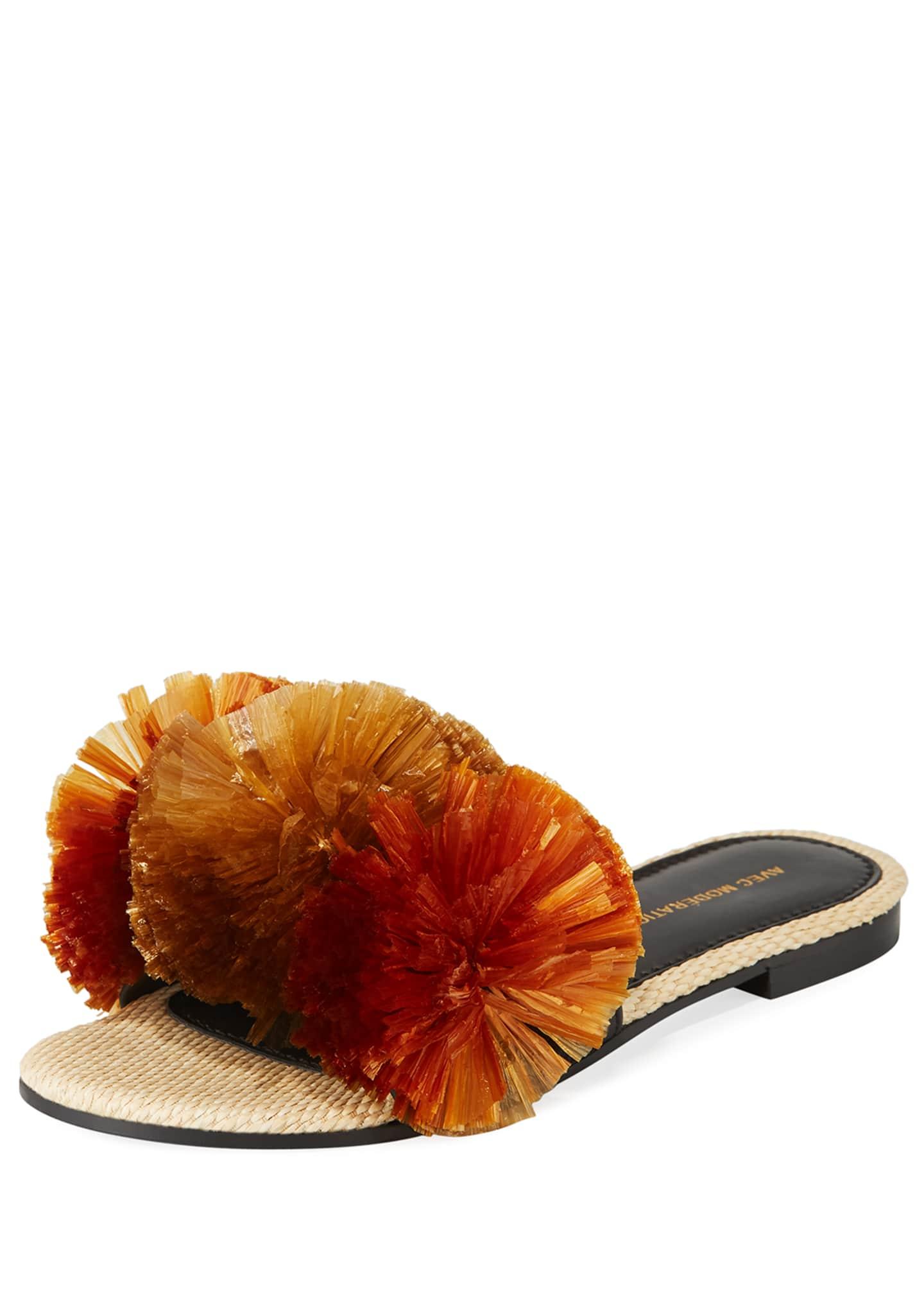 Avec Moderation Bora Bora Pompom-Embellished Slide Sandals, Brown