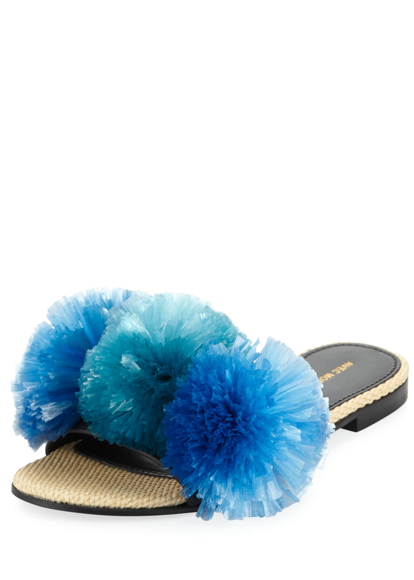 Avec Moderation Bora Bora Raffia Pompom Slide Sandals,