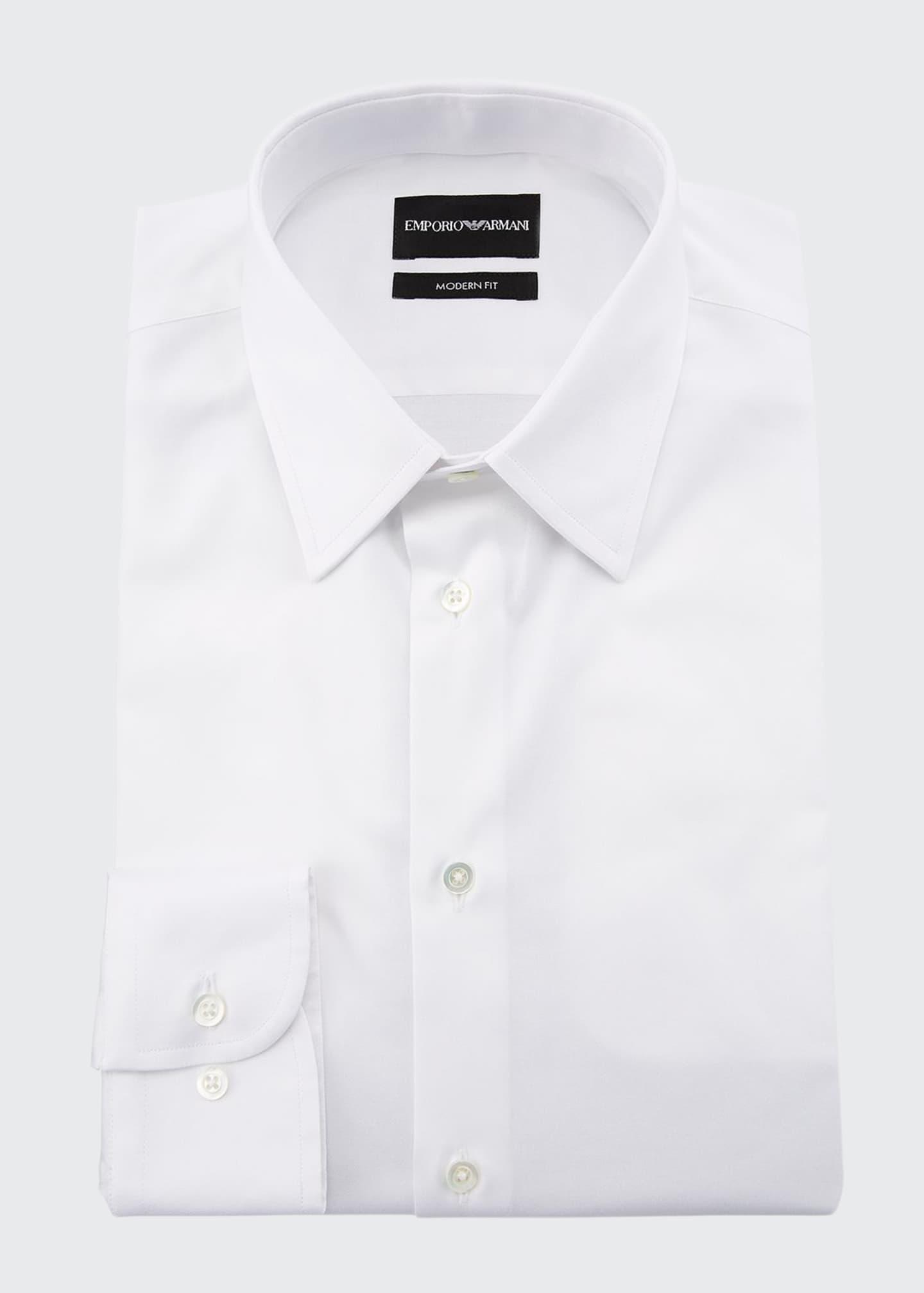 Emporio Armani Men's Modern-Fit Cotton-Stretch Dress Shirt, White