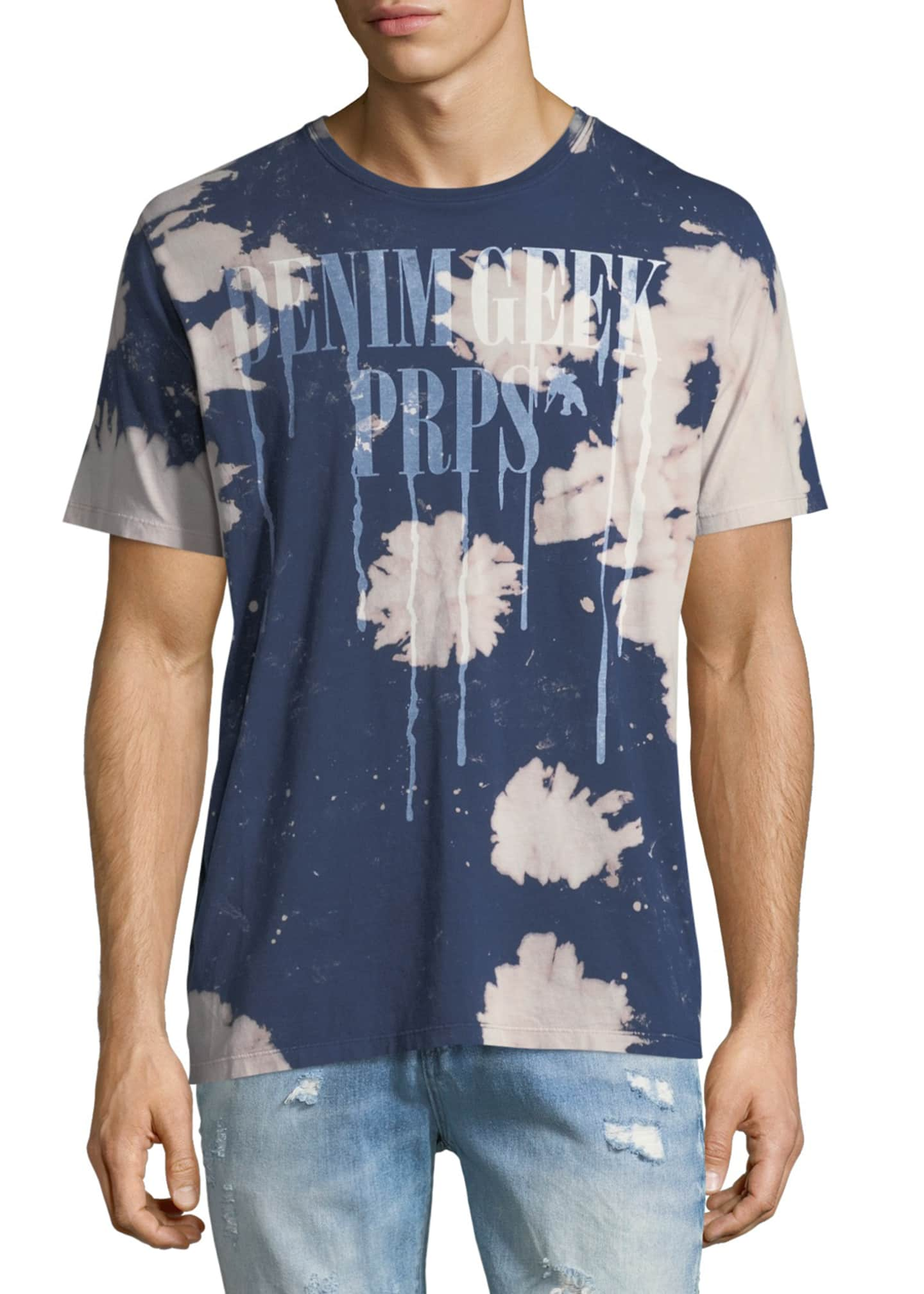Image 1 of 2: Tie Dye Denim Geek Tee, Navy