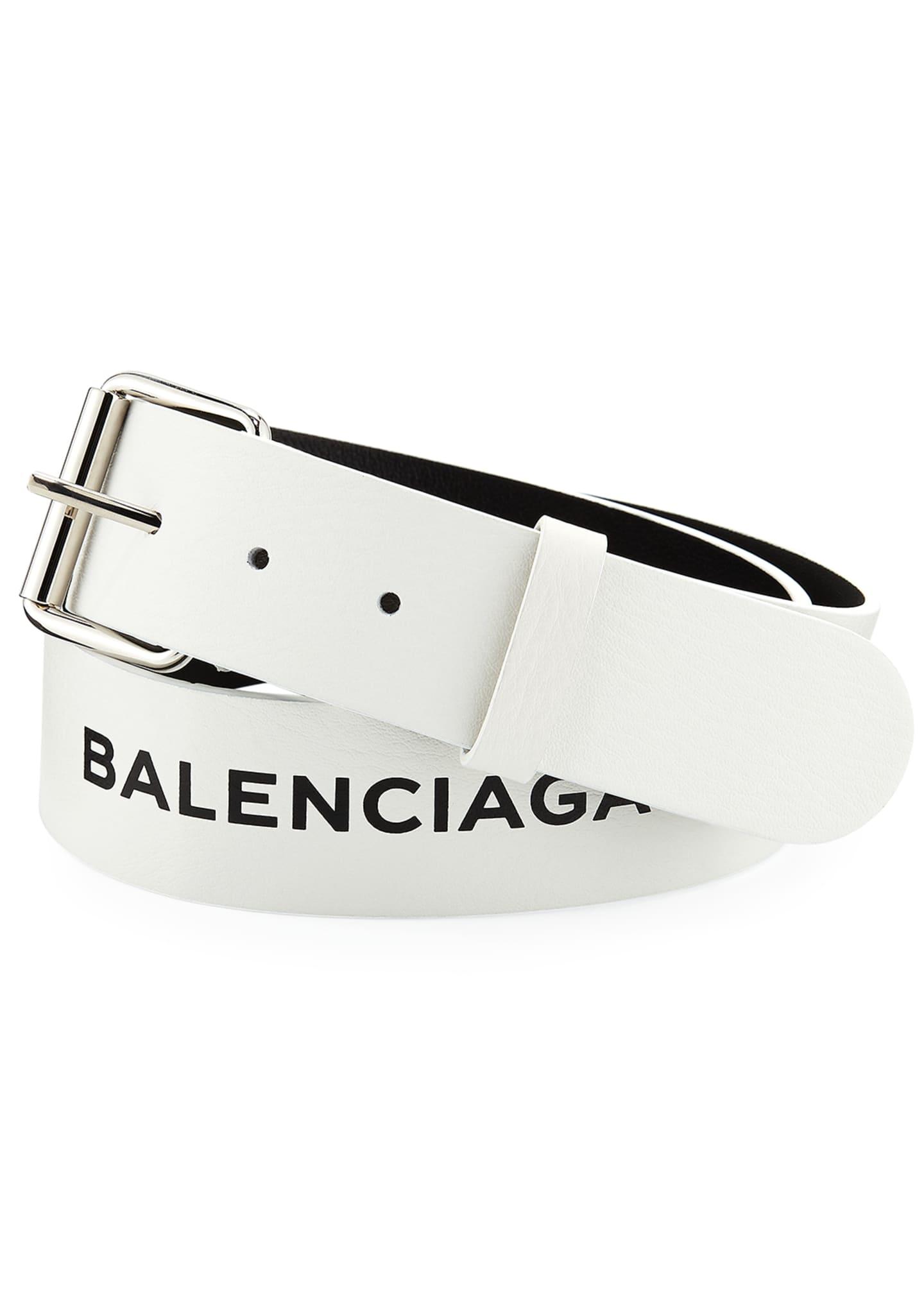 Balenciaga Men's Printed Single Logo Leather Belt