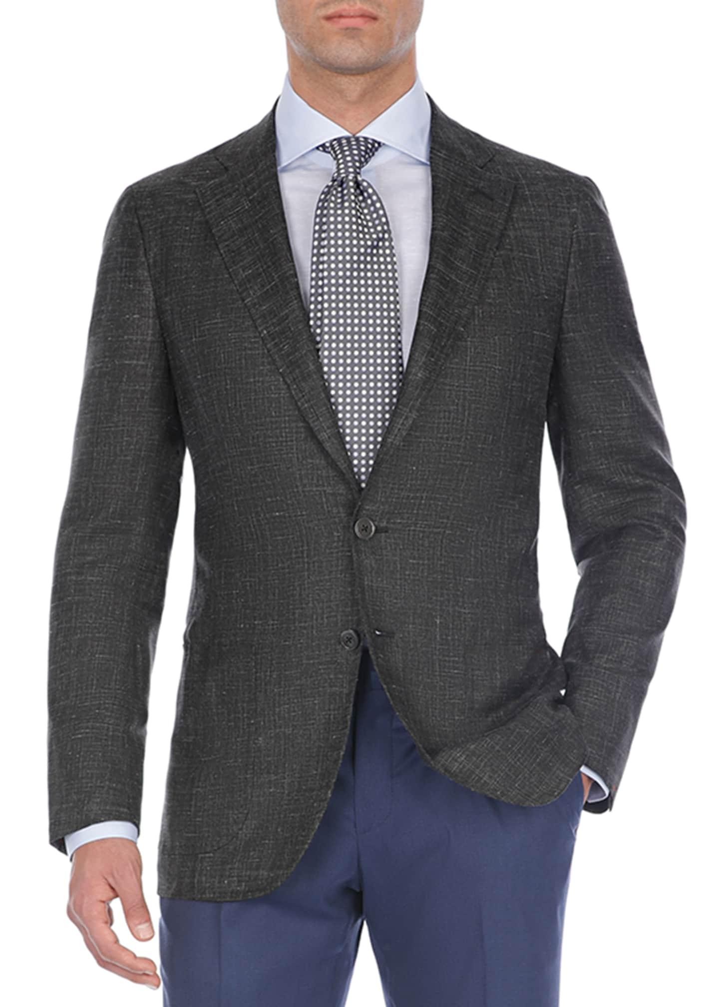 Isaia Textured Tri-Blend Two-Button Blazer