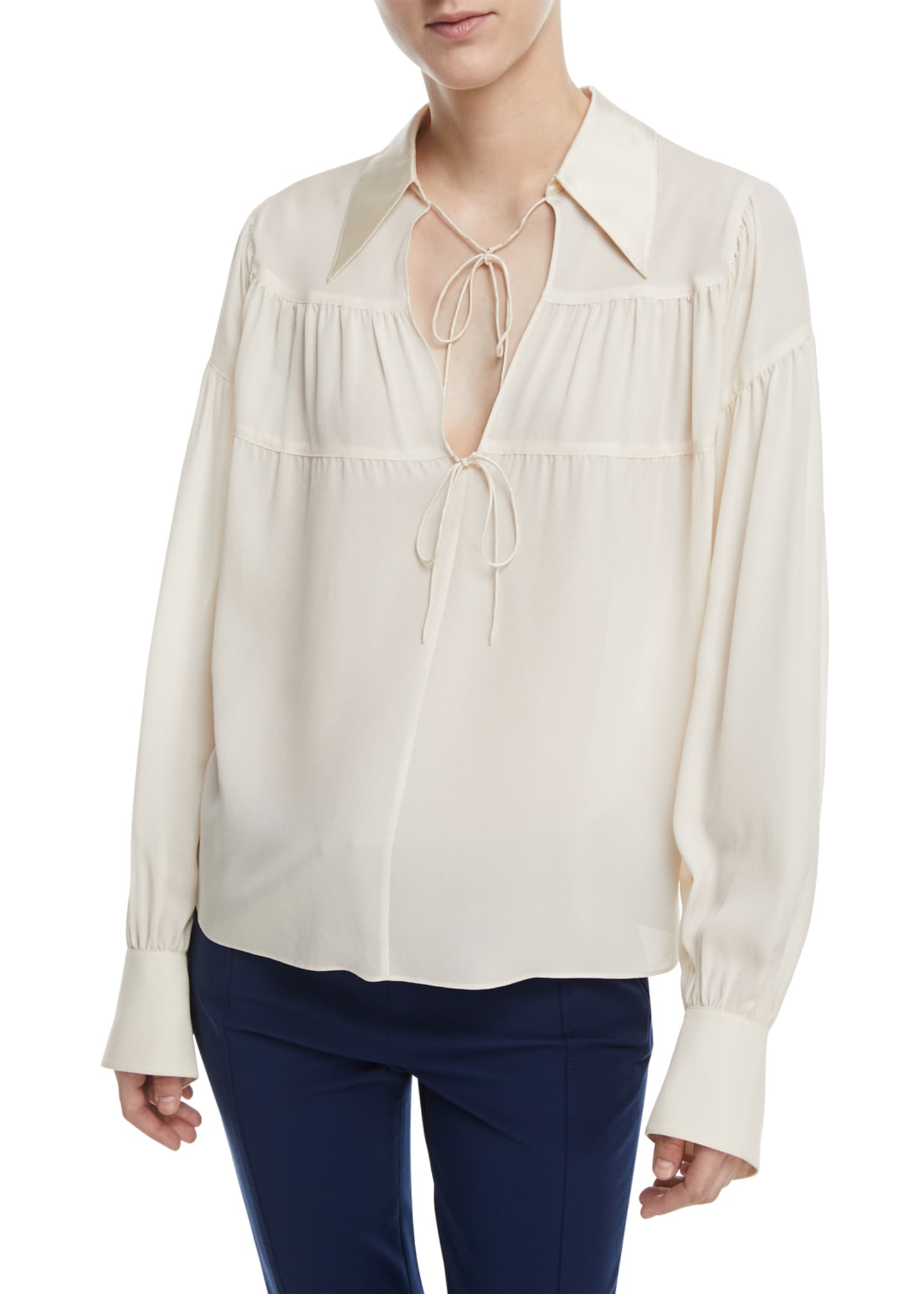 Joseph Tiered Necktie Silk Blouse