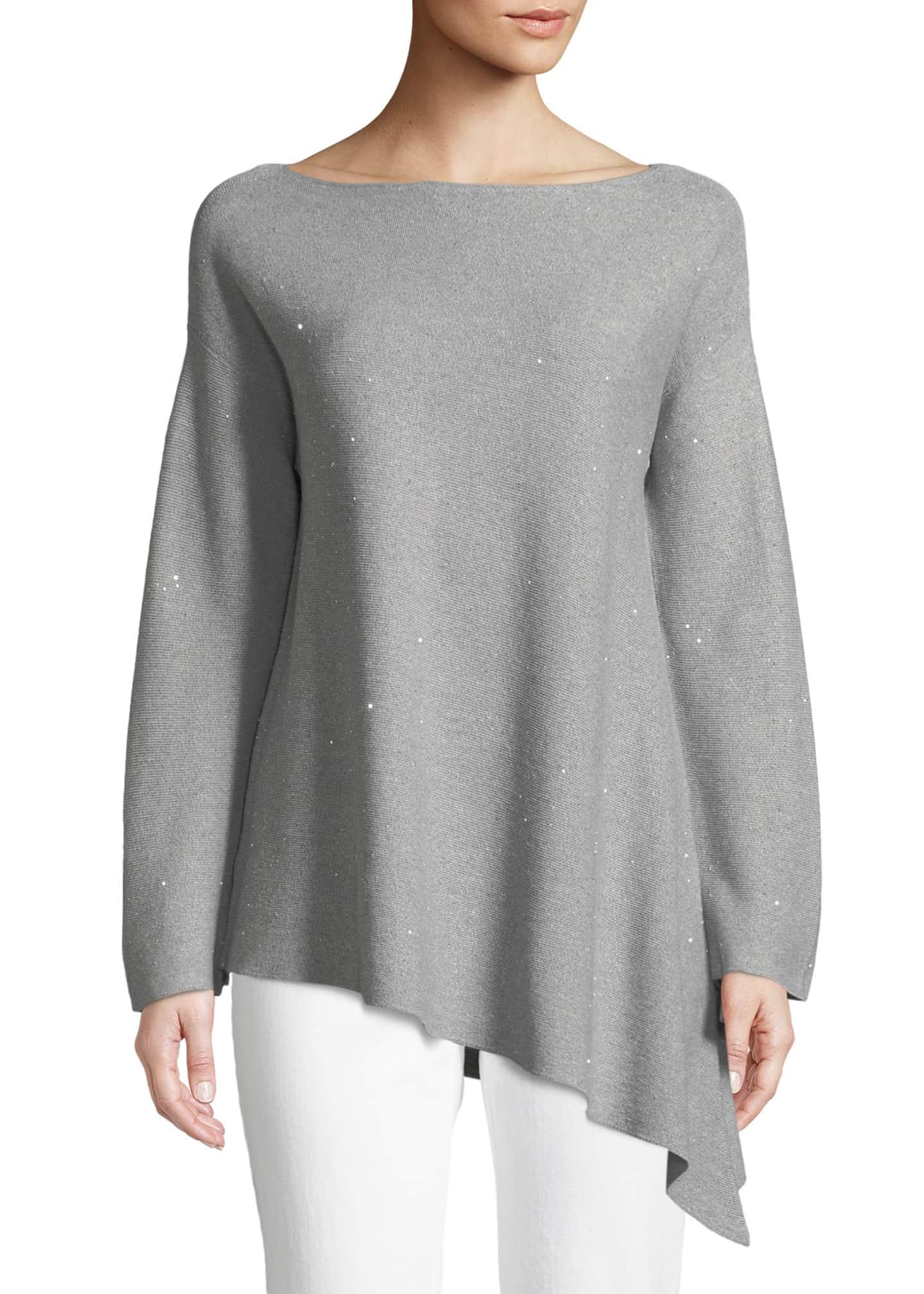 Lafayette 148 New York Sequin Mouline Asymmetric Sweater