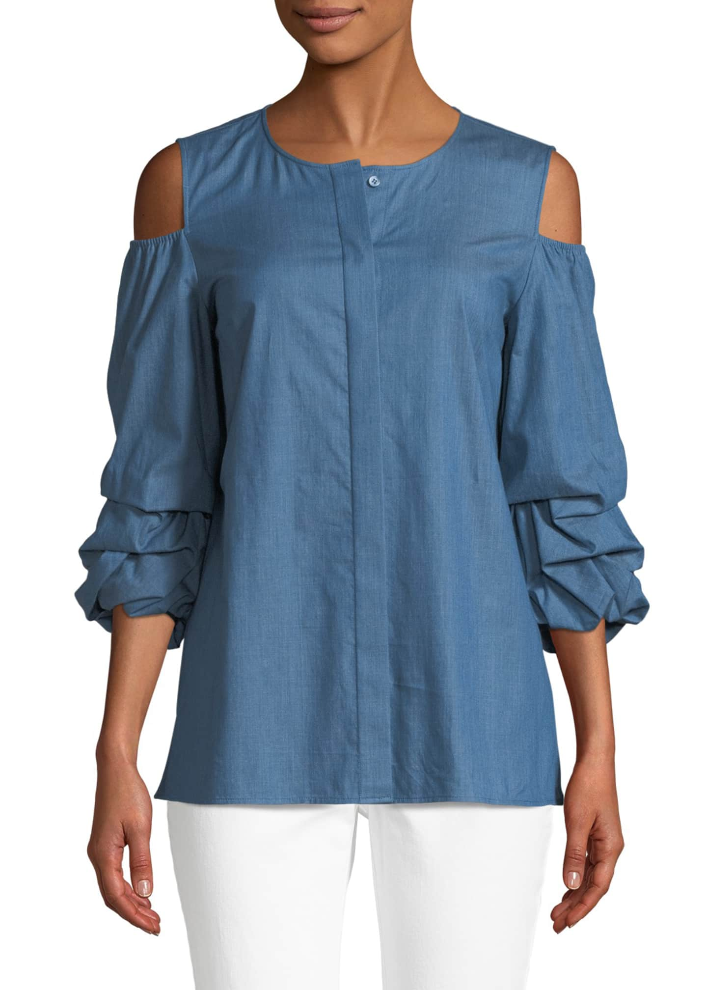 Lafayette 148 New York Poppy Ruched-Cuff Denim Blouse
