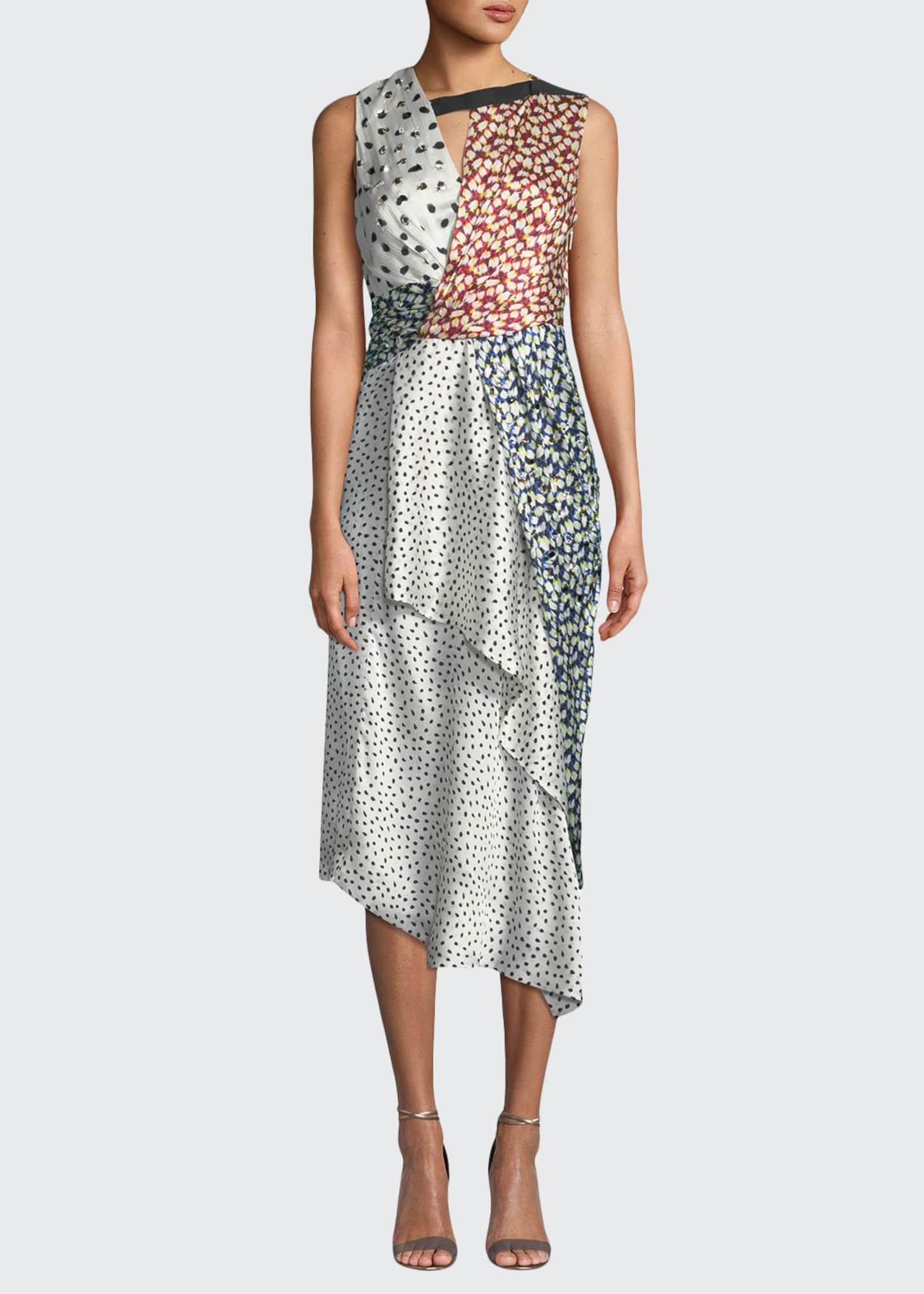 Jason Wu Crinkle Silk Sleeveless Knot Dress