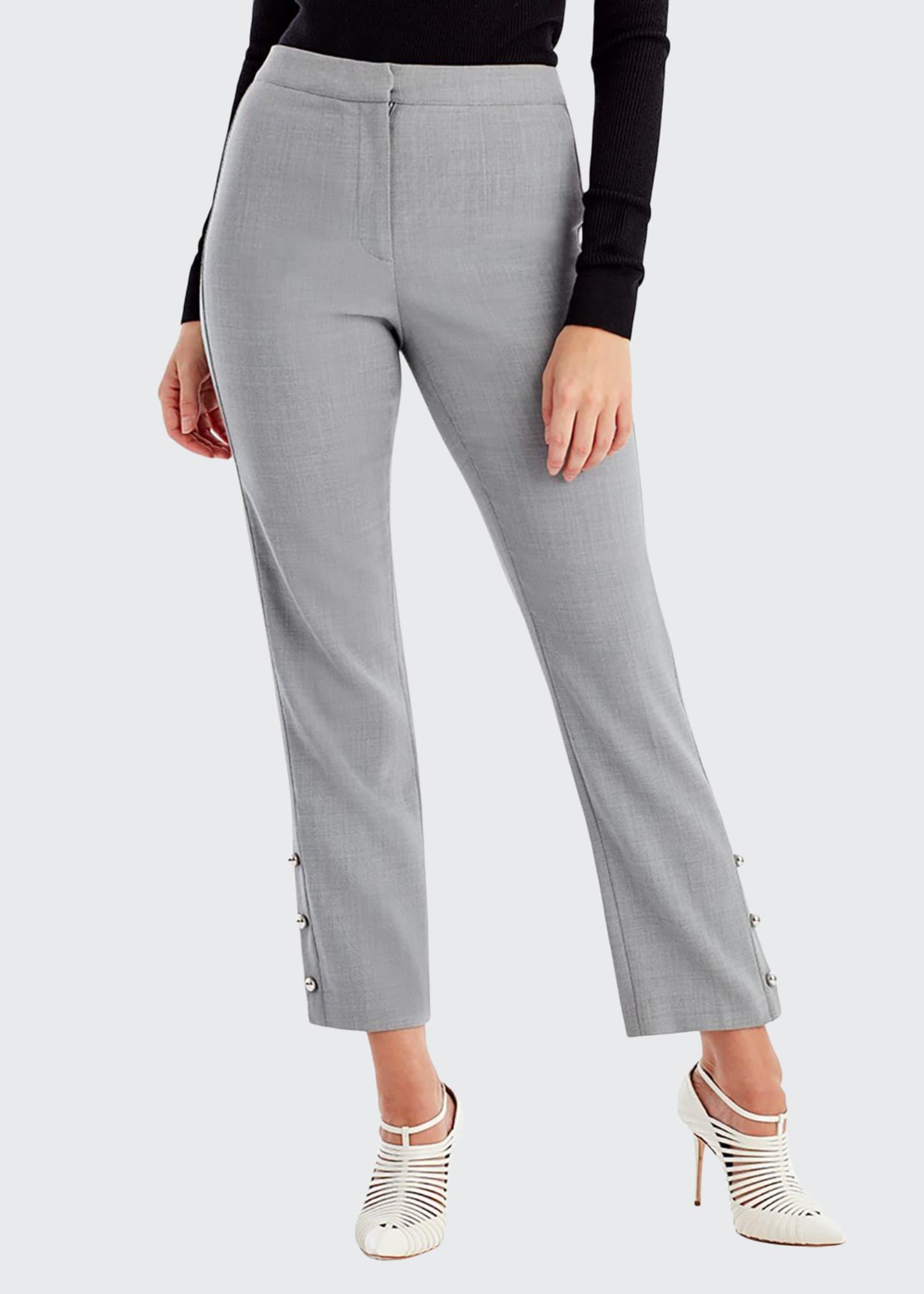Jason Wu Straight-Leg Crop Pants with Button Trim