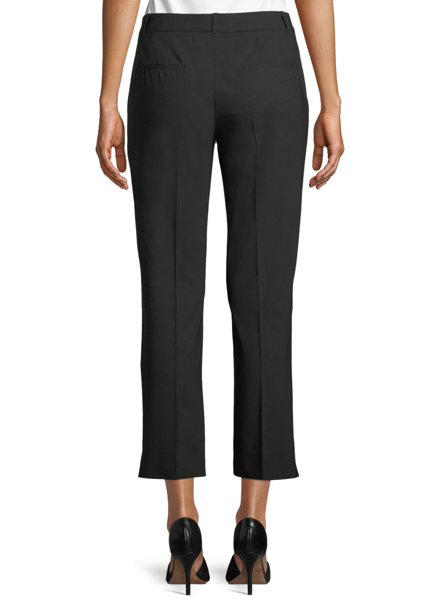 Image 2 of 3: Kate Cropped Straight-Leg Classic Stretch-Wool Pants