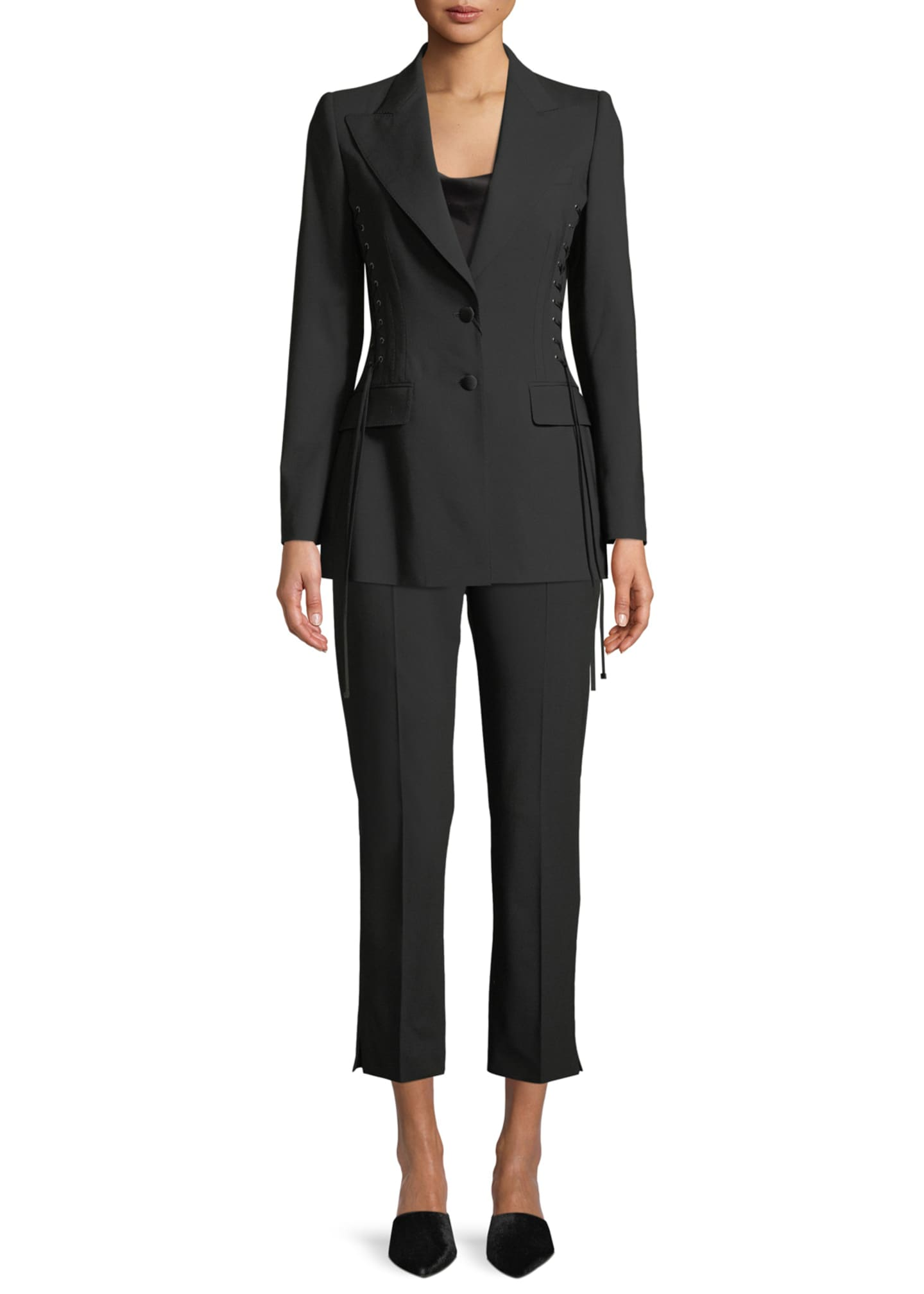 Image 3 of 3: Kate Cropped Straight-Leg Classic Stretch-Wool Pants