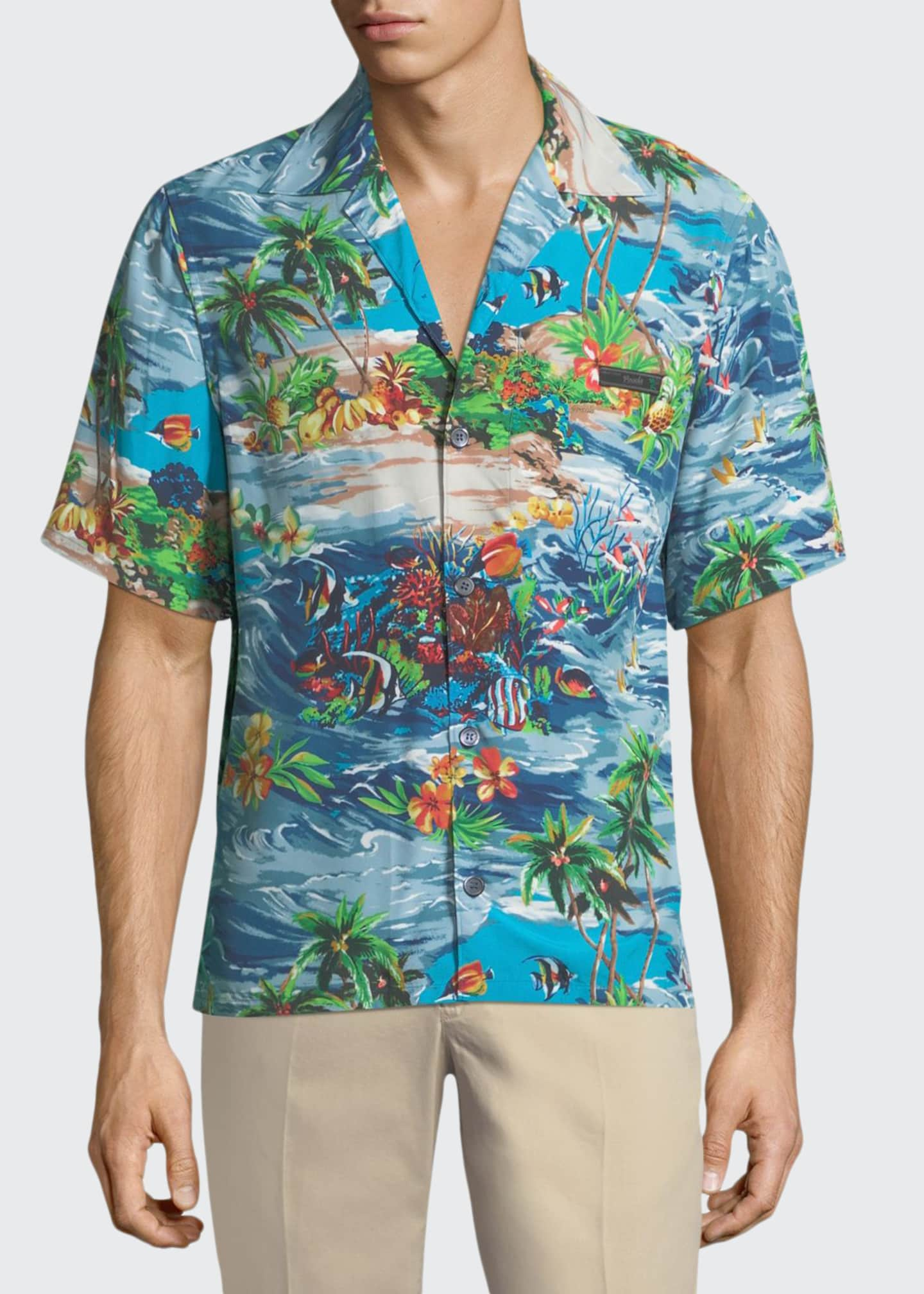 Prada Island Fish Print Bowling Shirt