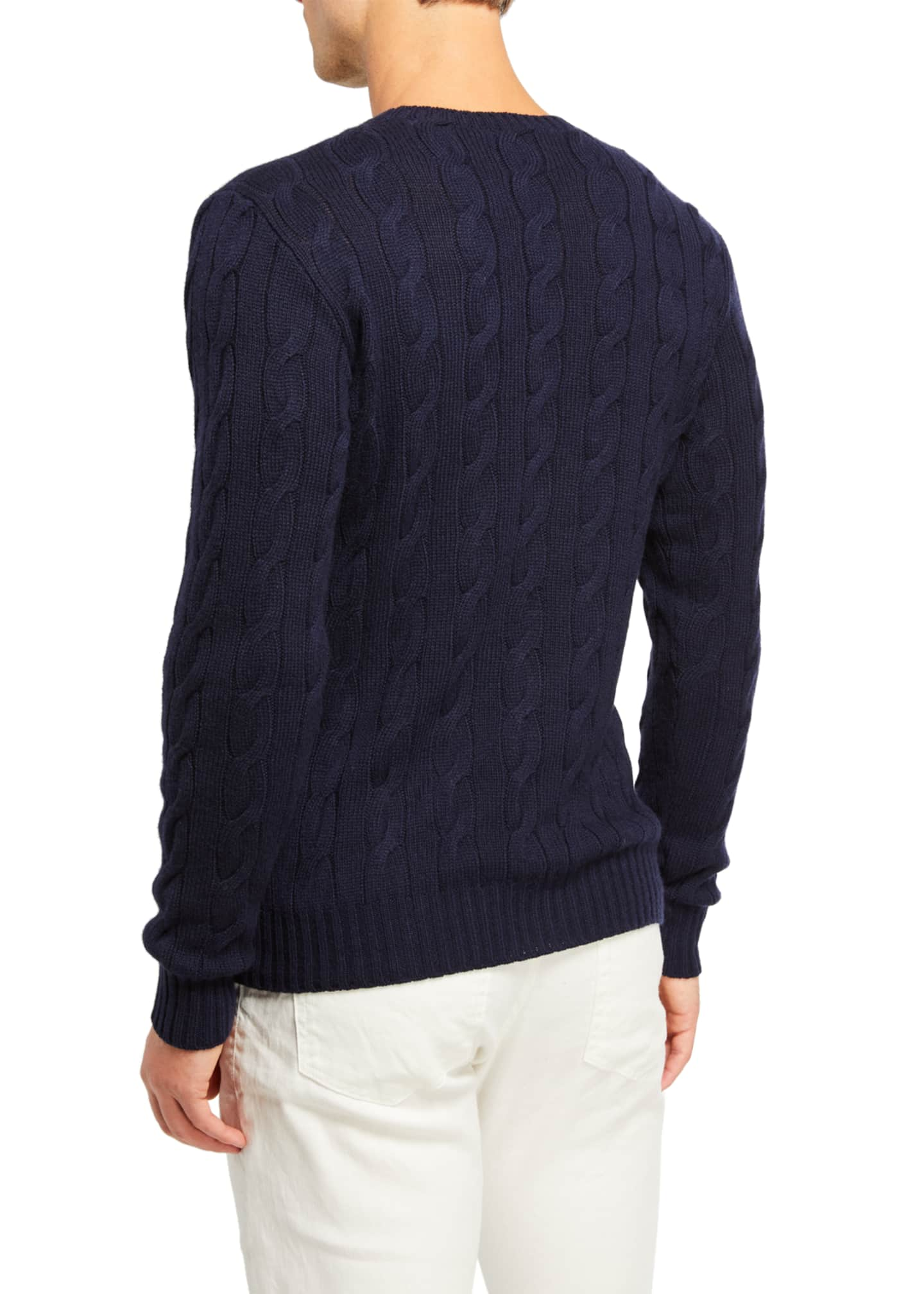 Image 2 of 2: Cashmere Cable-Knit Crewneck Sweater, Navy