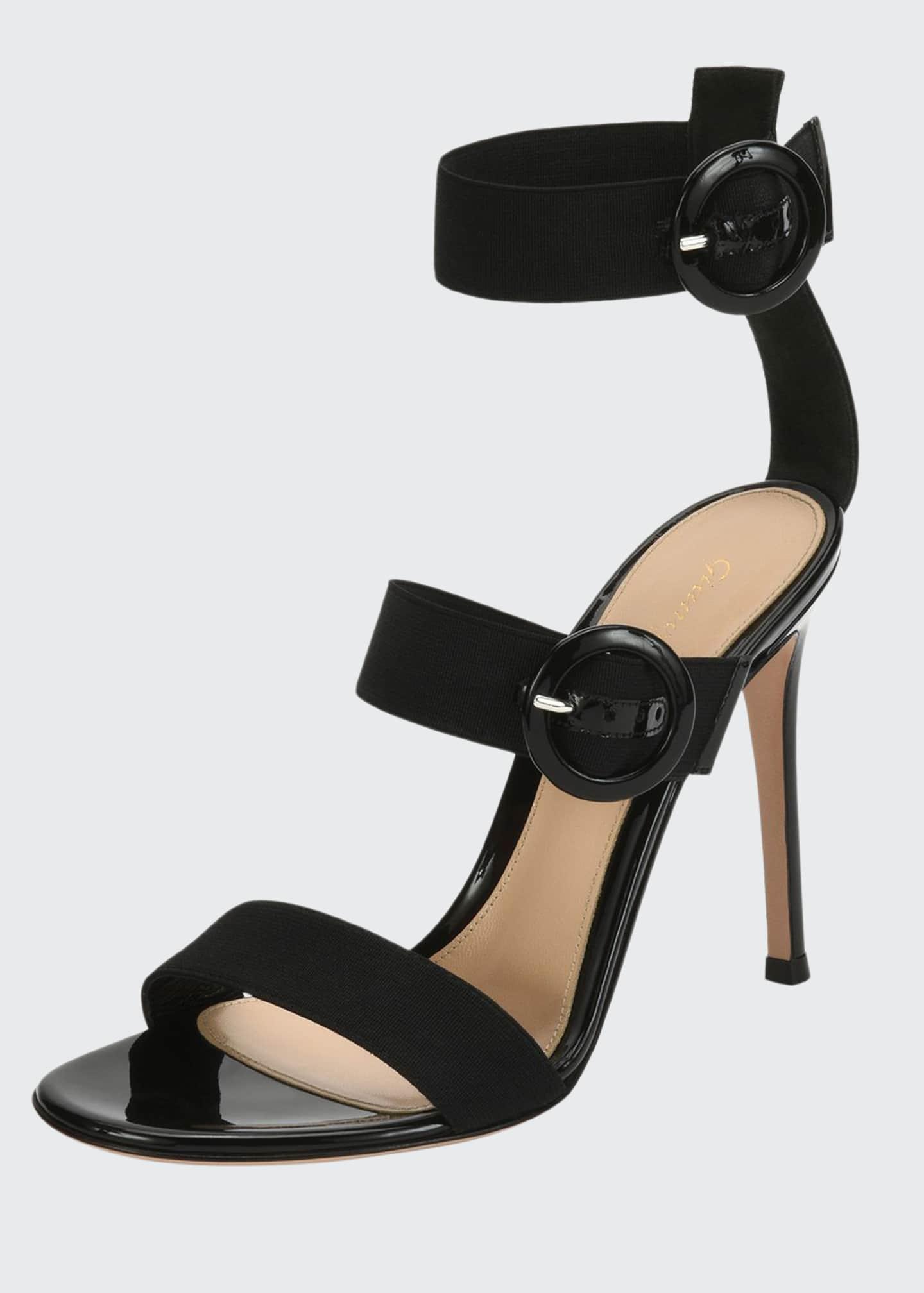 Gianvito Rossi Velvet Three-Strap Sandals