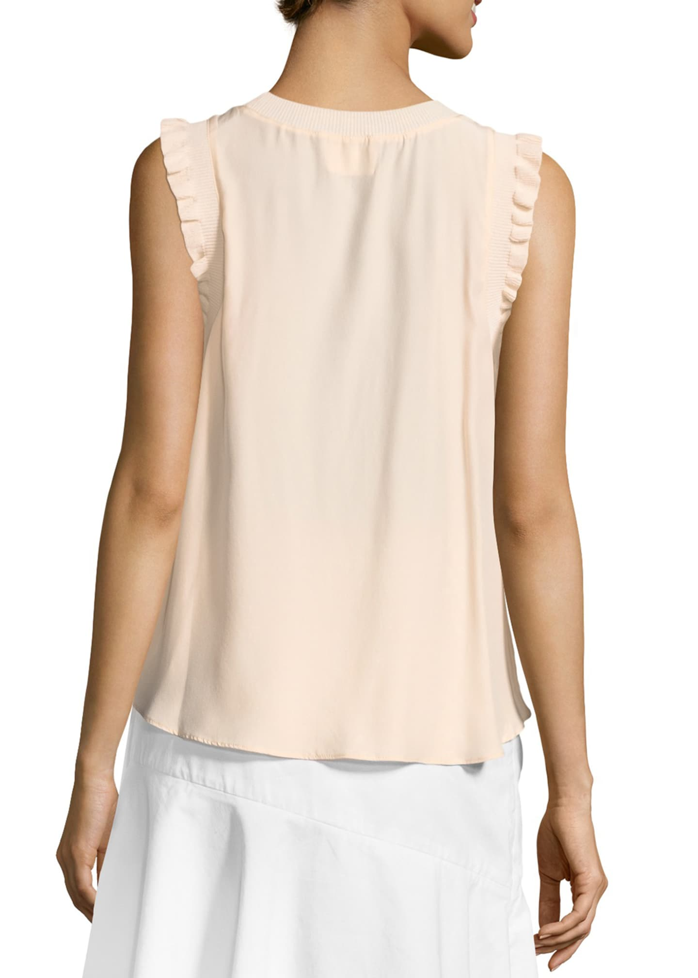 Image 2 of 2: Tous Les Jours Lenore Crewneck Sleeveless Silk Top
