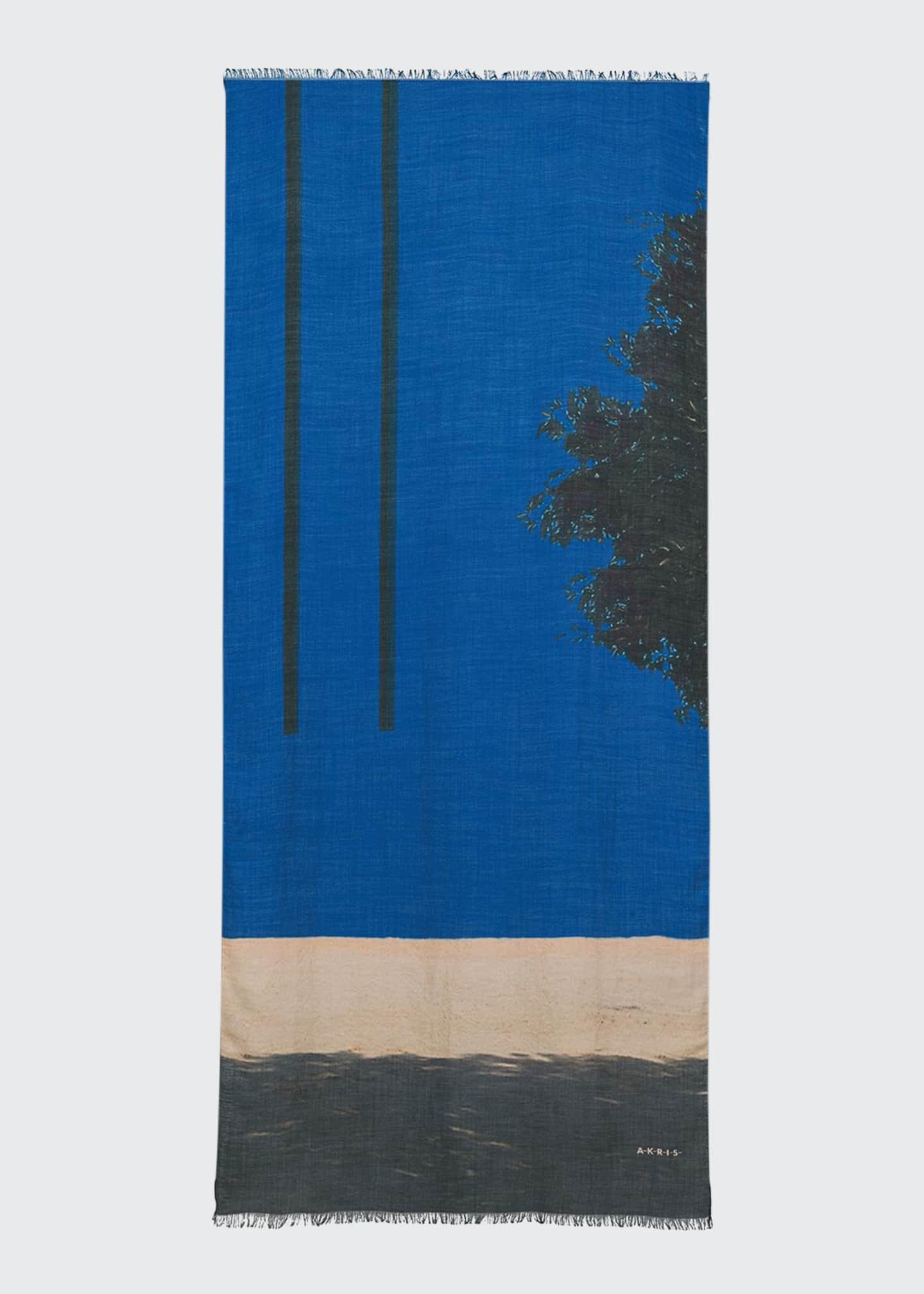 Akris Olive-Tree Graphic Cashmere-Silk Scarf