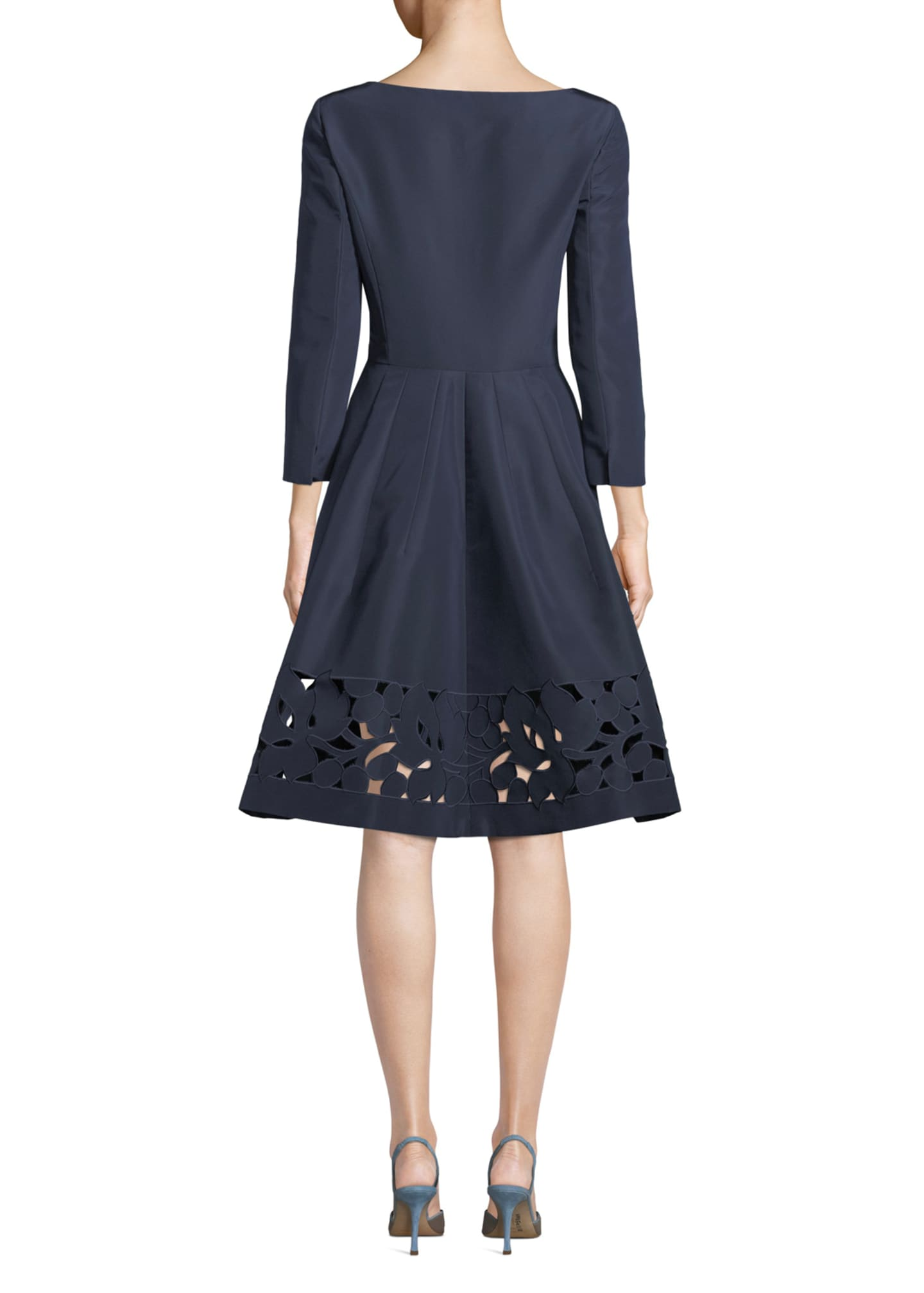 Image 2 of 3: 3/4-Sleeve Eyelet-Hem Silk-Faille Dress