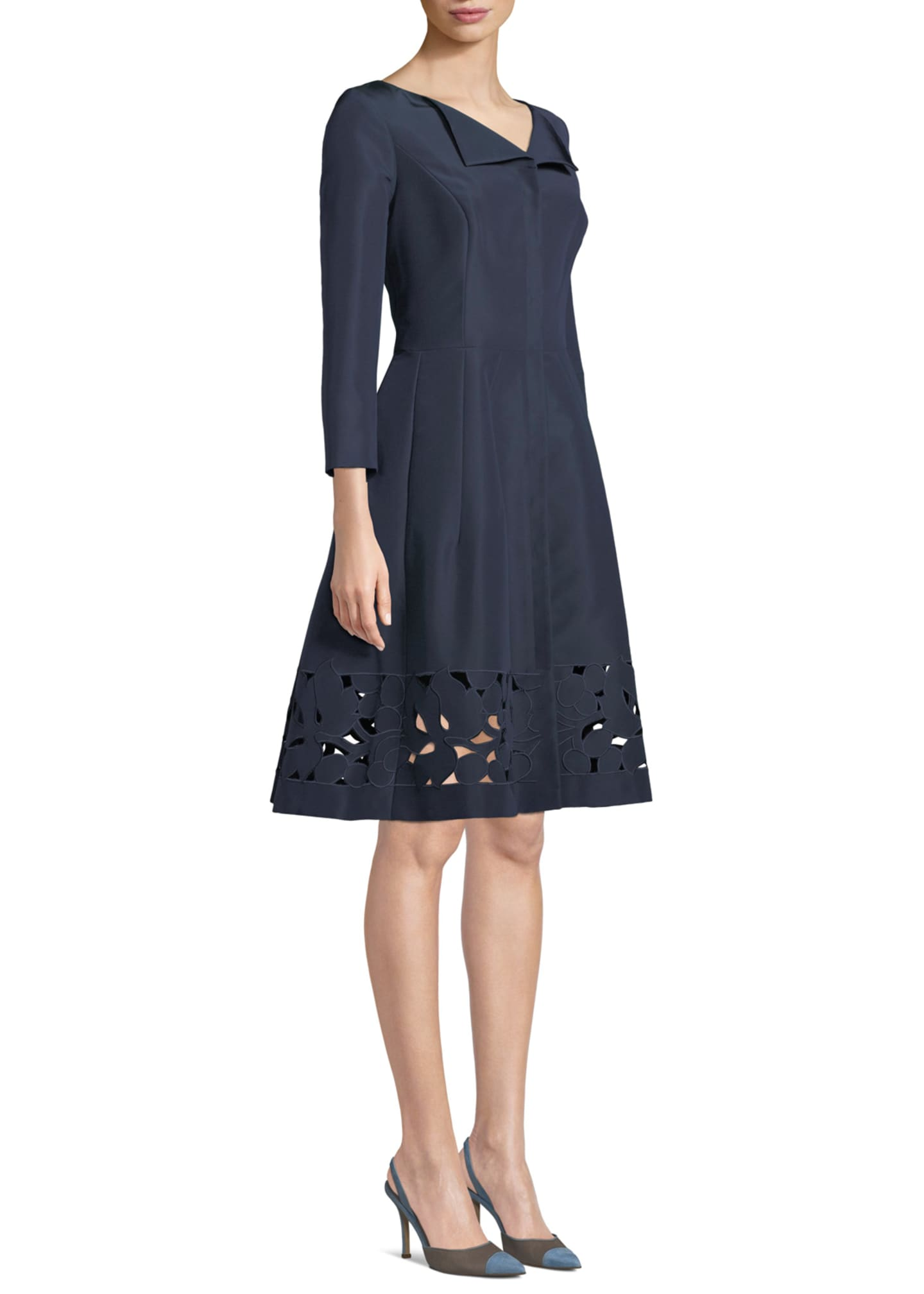 Image 3 of 3: 3/4-Sleeve Eyelet-Hem Silk-Faille Dress