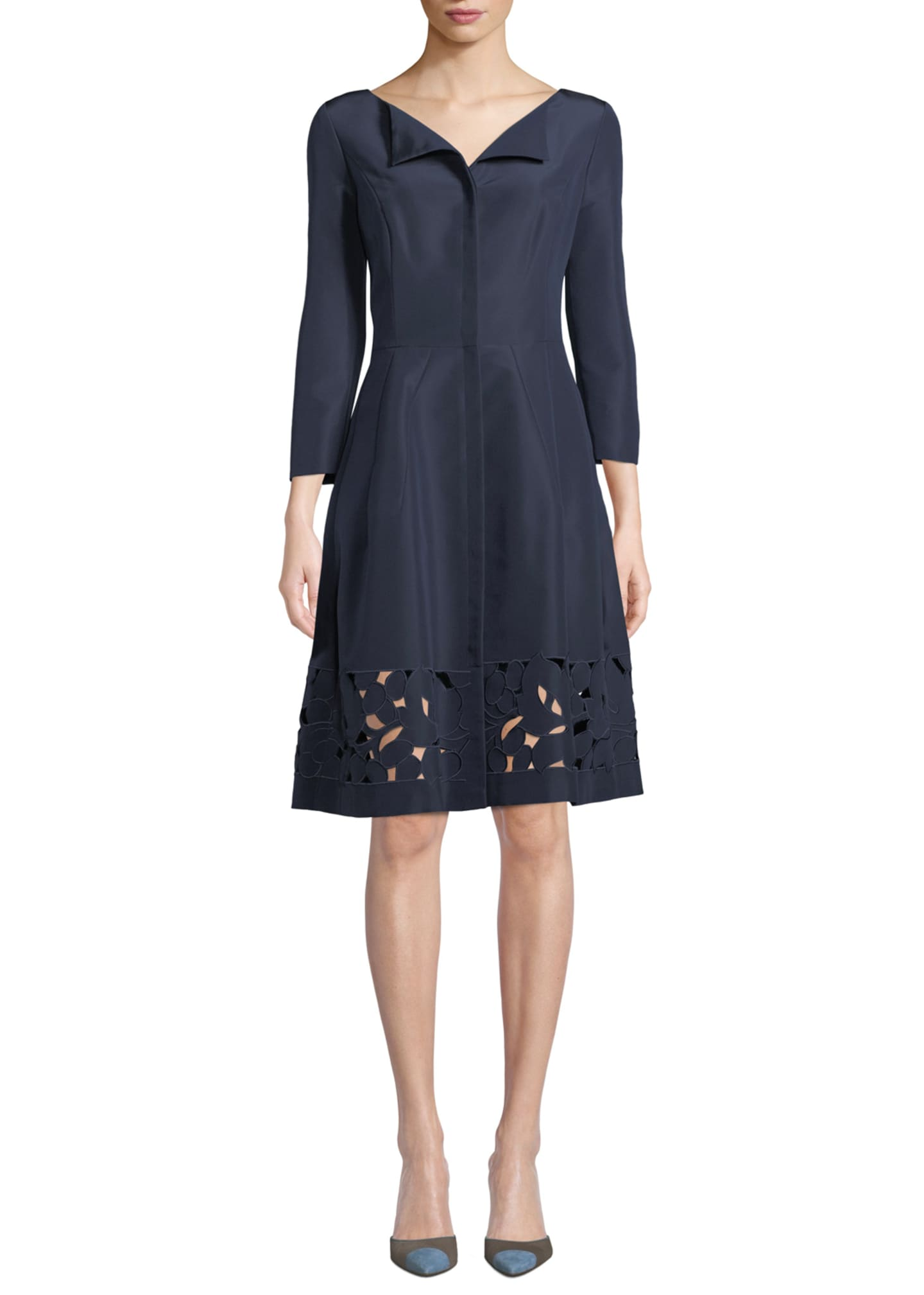 Carolina Herrera 3/4-Sleeve Eyelet-Hem Silk-Faille Dress