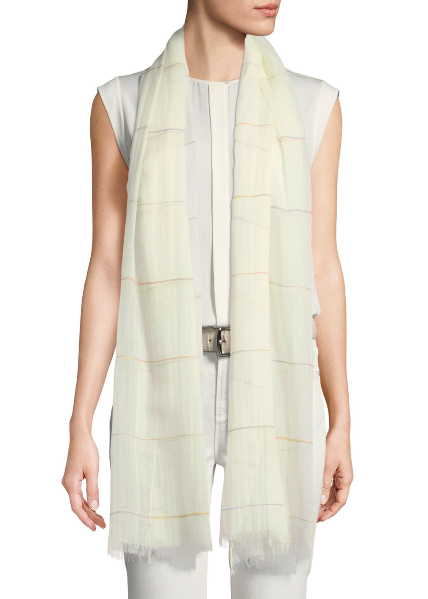 Loro Piana Cashmere-Cotton Lightweight Striped Scarf