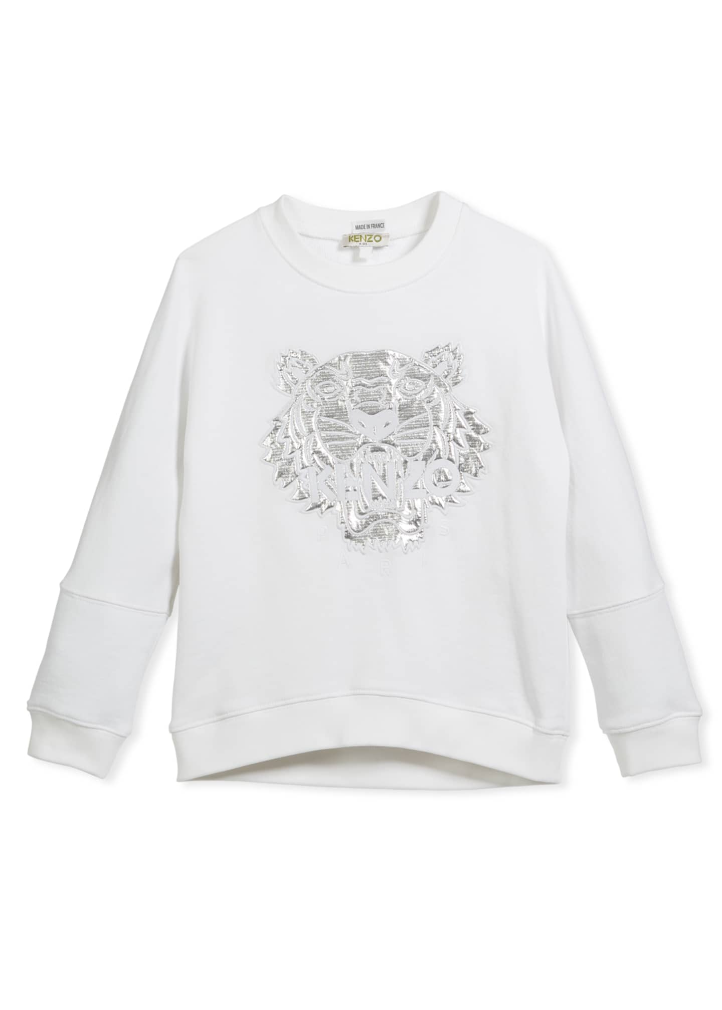 Kenzo Drop-Shoulder Sweatshirt w/ Metallic Tiger Face, White,