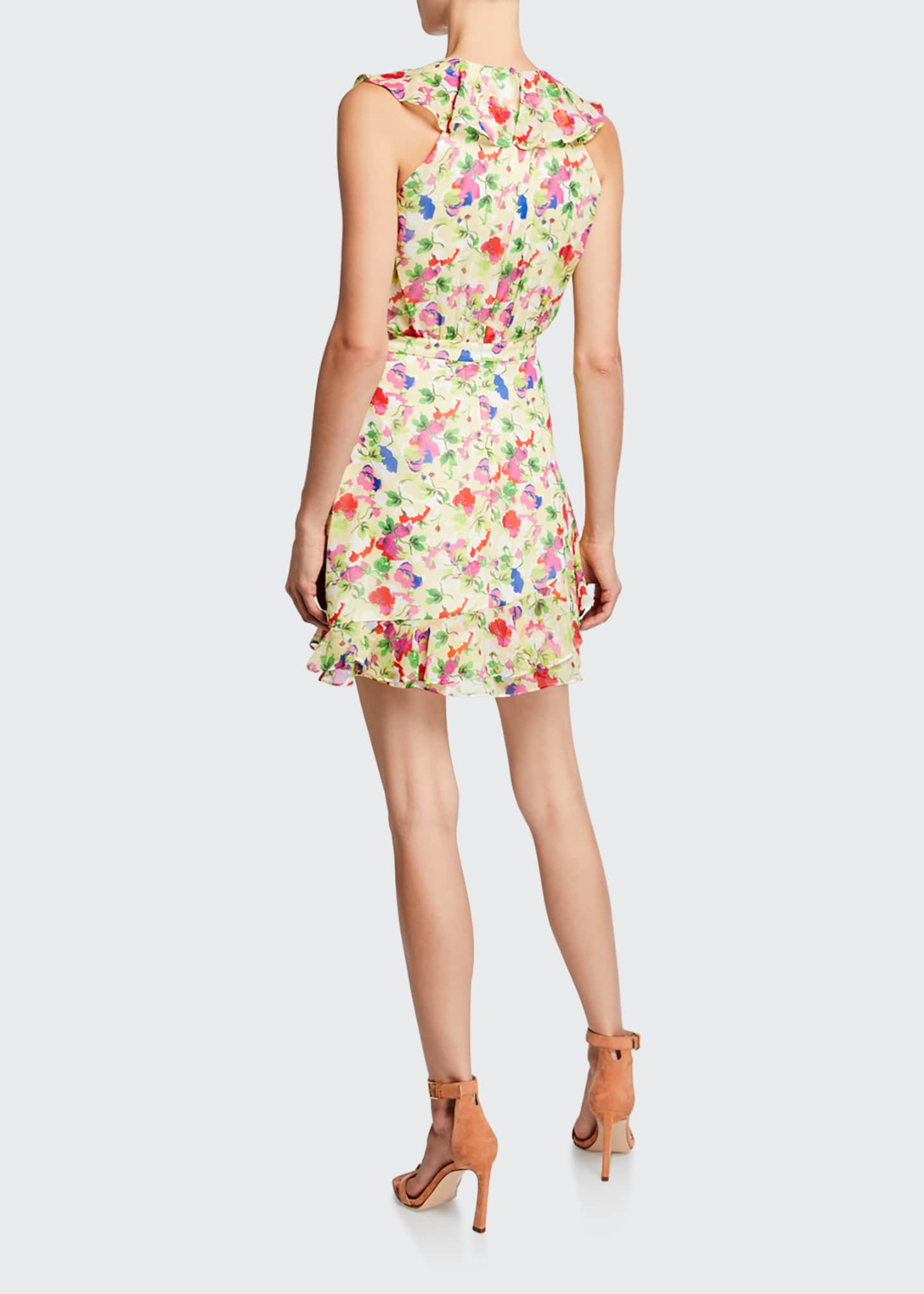 Image 2 of 2: Cece V-Neck Sleeveless Floral-Print Ruffled Cocktail Dress