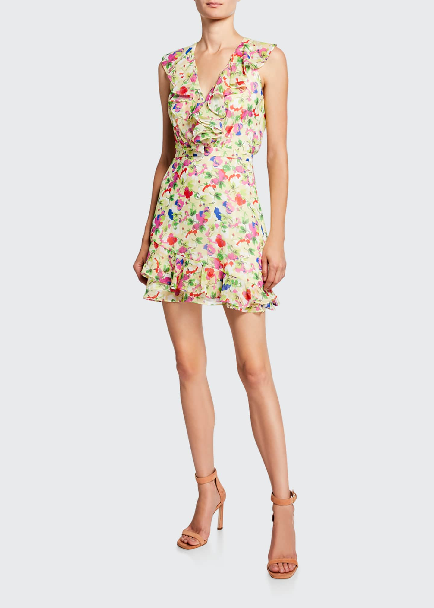 Image 1 of 2: Cece V-Neck Sleeveless Floral-Print Ruffled Cocktail Dress