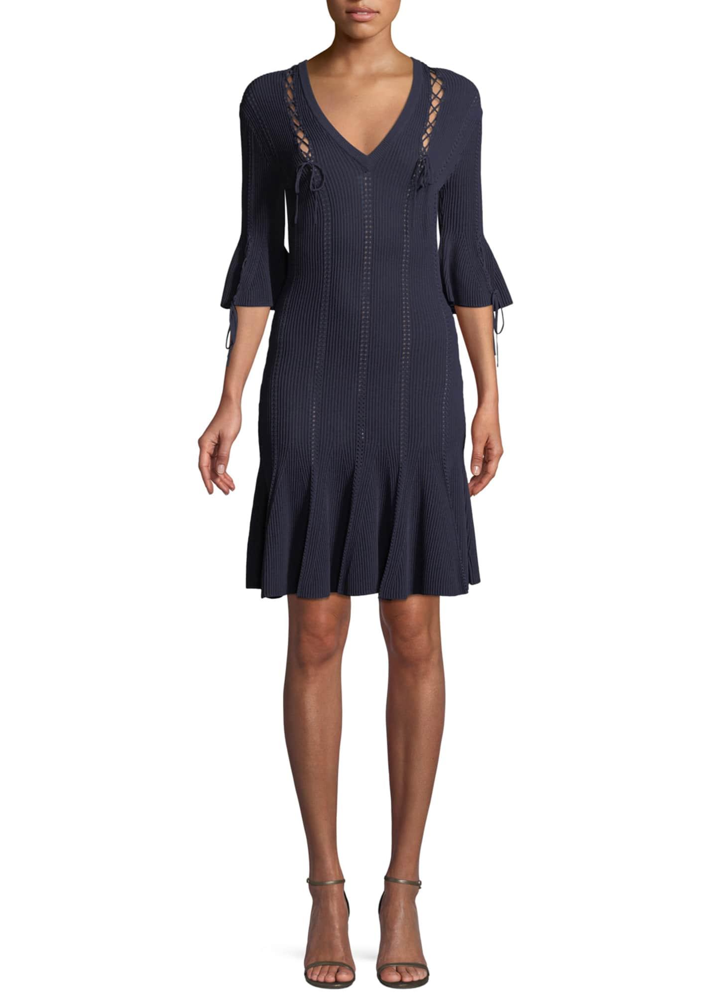 Jonathan Simkhai V-Neck Linked Rib-Knit Dress w/ Lace-Up