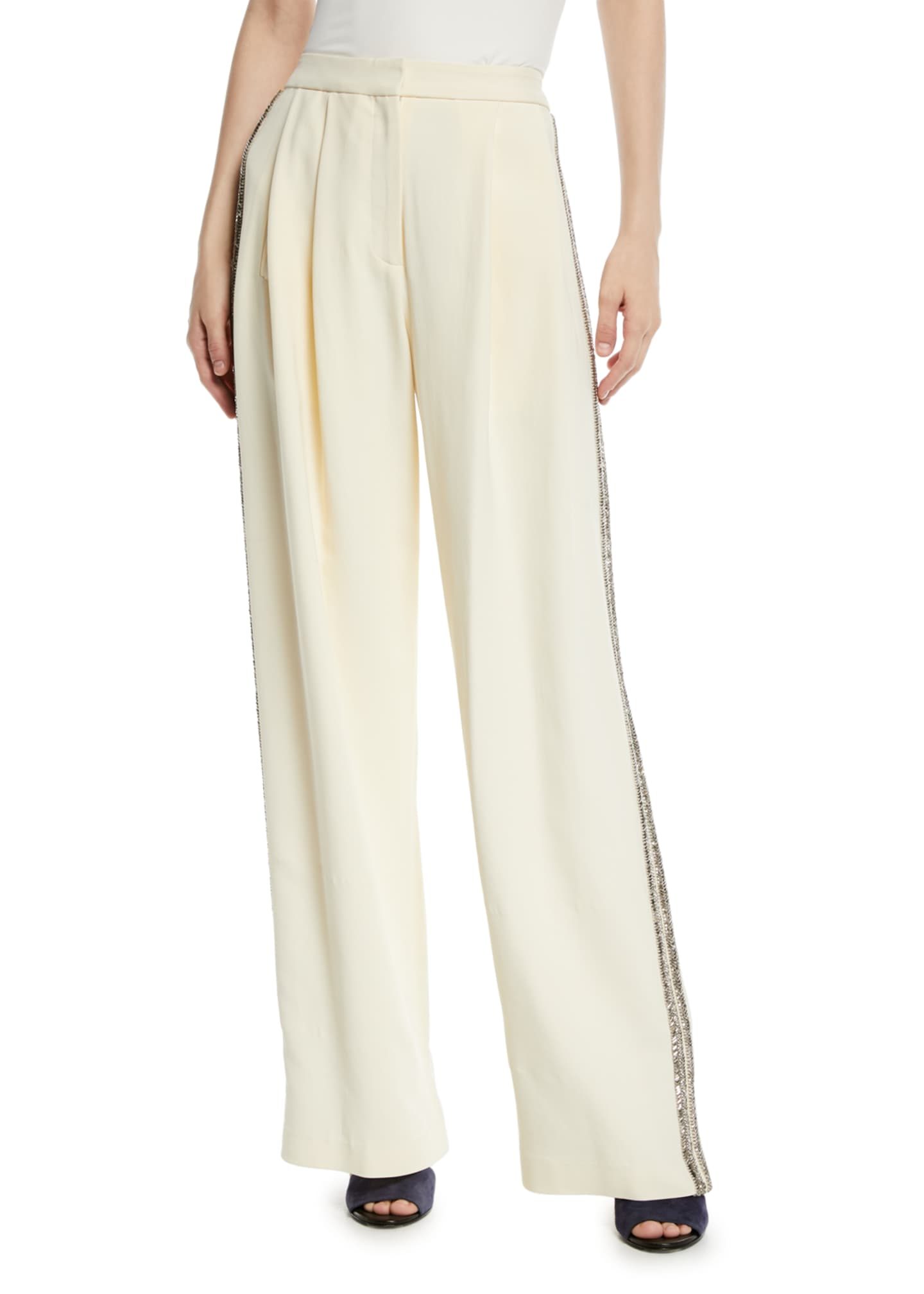Adam Lippes Wide-Leg Crepe Pants w/ Crystalized Embroidery