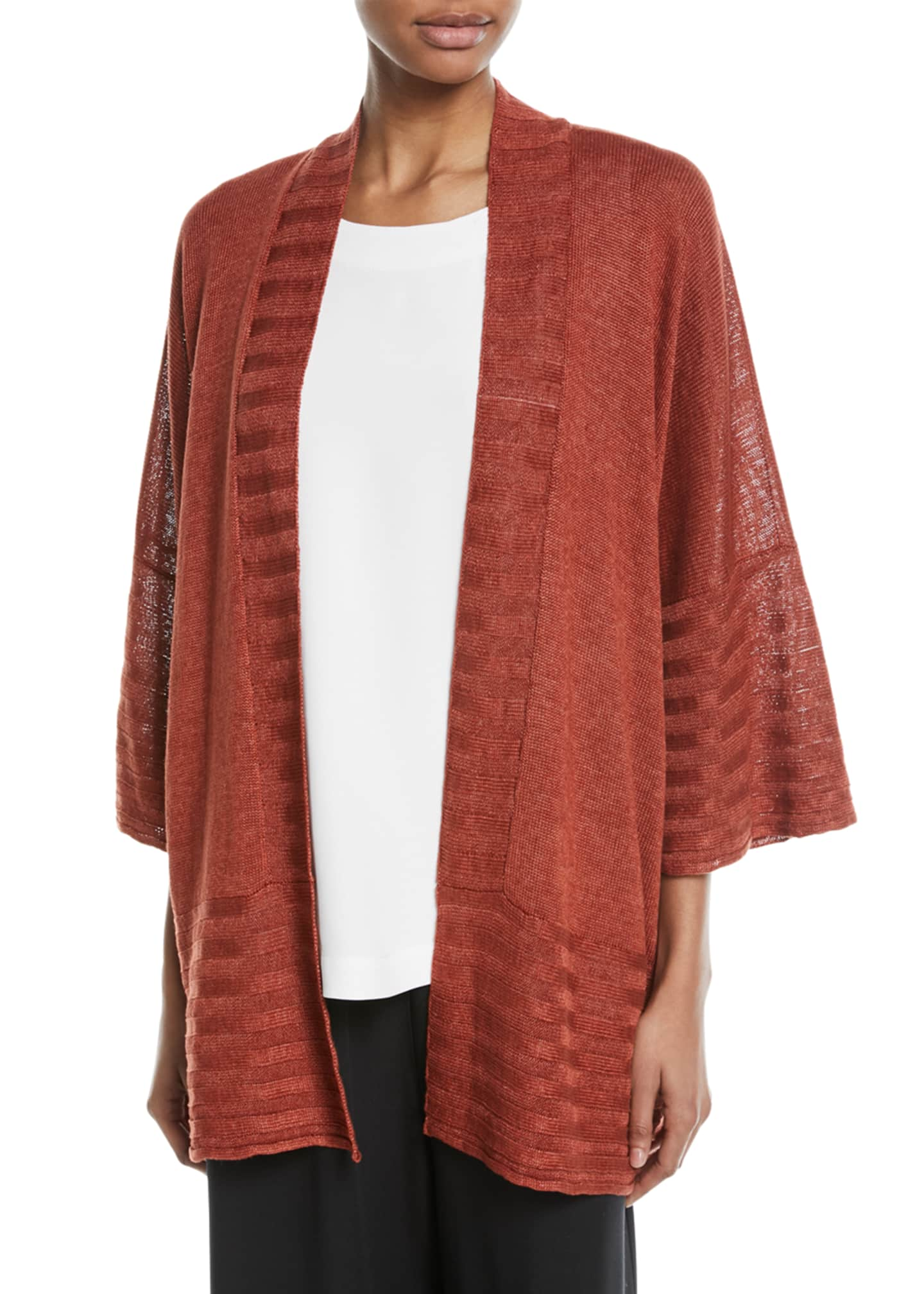 Eskandar Hand-Loomed Knitted Lightweight Linen Poncho Cardigan
