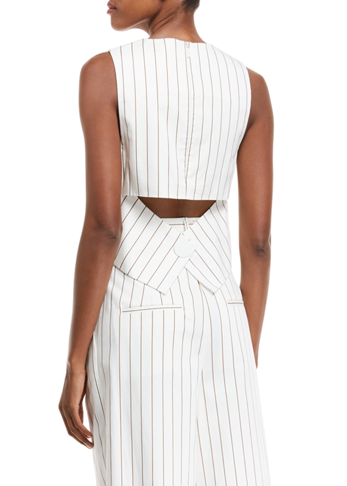 Image 2 of 2: Sleeveless Stripe Sateen Top w/ Cutout Back