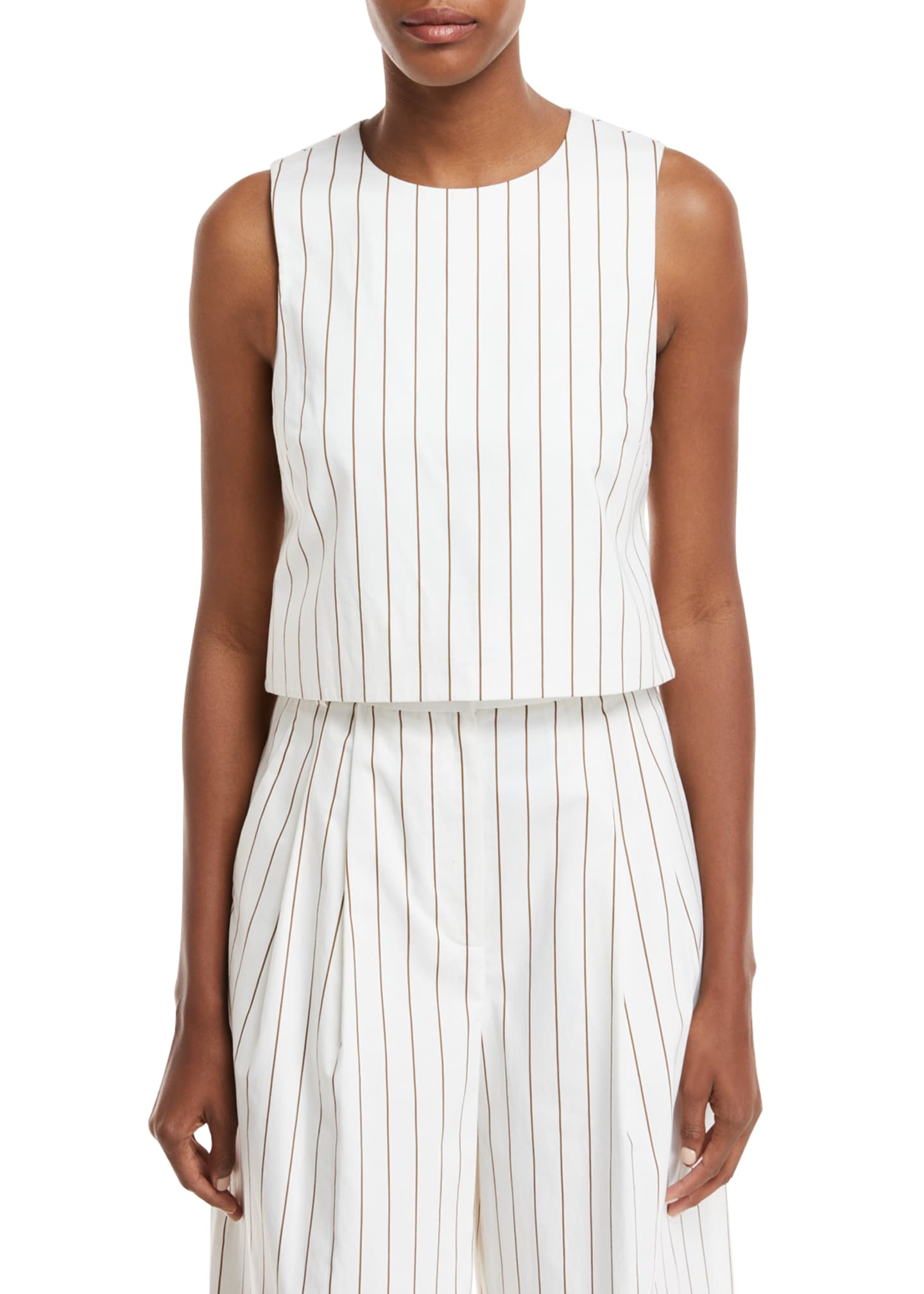 Image 1 of 2: Sleeveless Stripe Sateen Top w/ Cutout Back