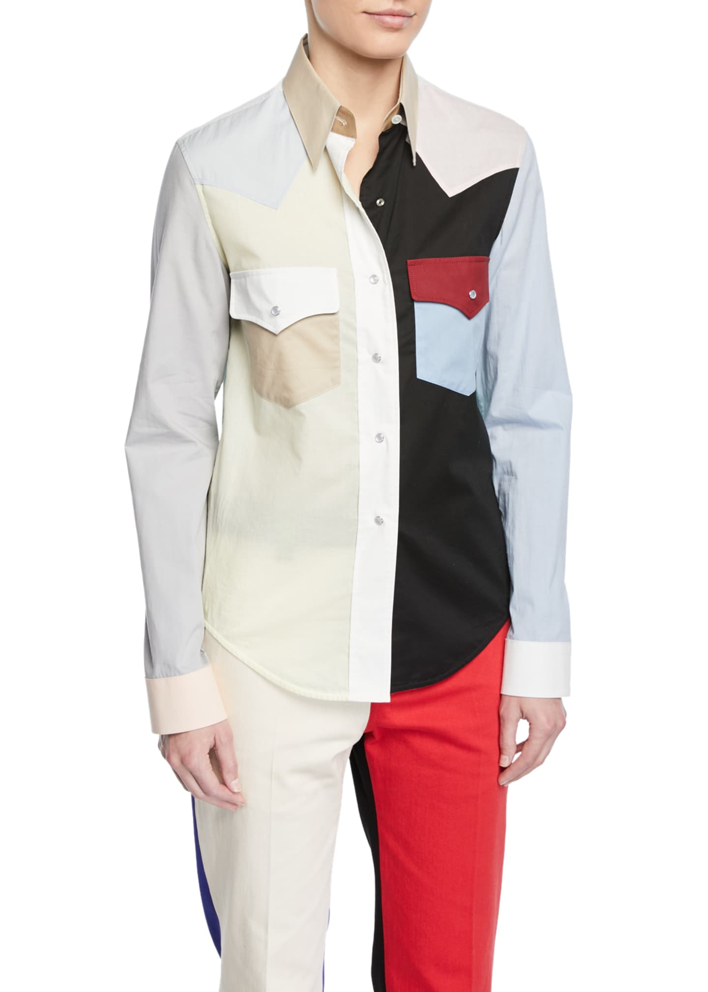CALVIN KLEIN 205W39NYC Colorblock Button-Down Long-Sleeve Cotton