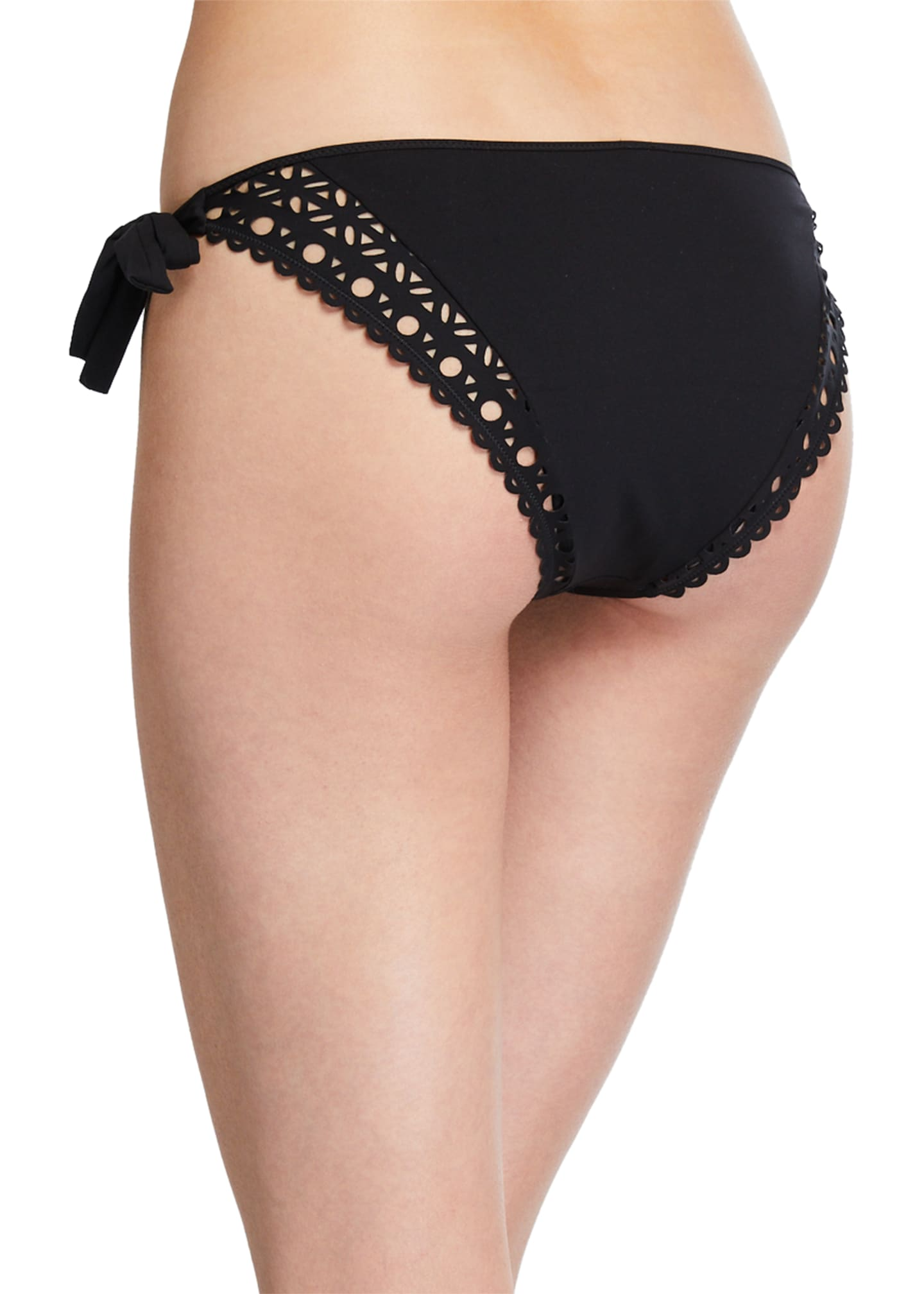 Image 2 of 2: Side-Tie Eyelet Bikini Swim Bottoms with Narrow Sides