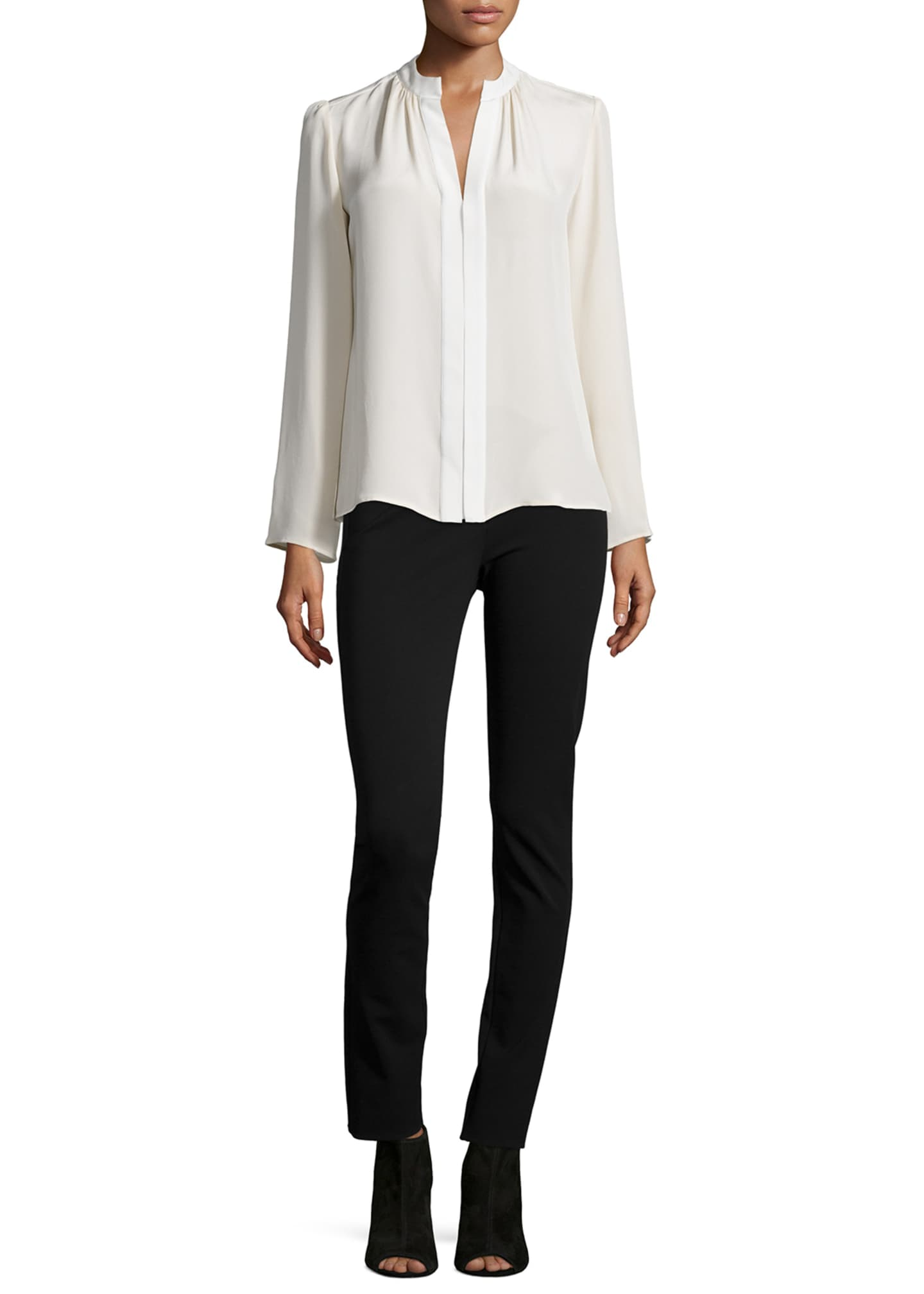 Image 3 of 3: Long-Sleeve Slim-Fit Blouse