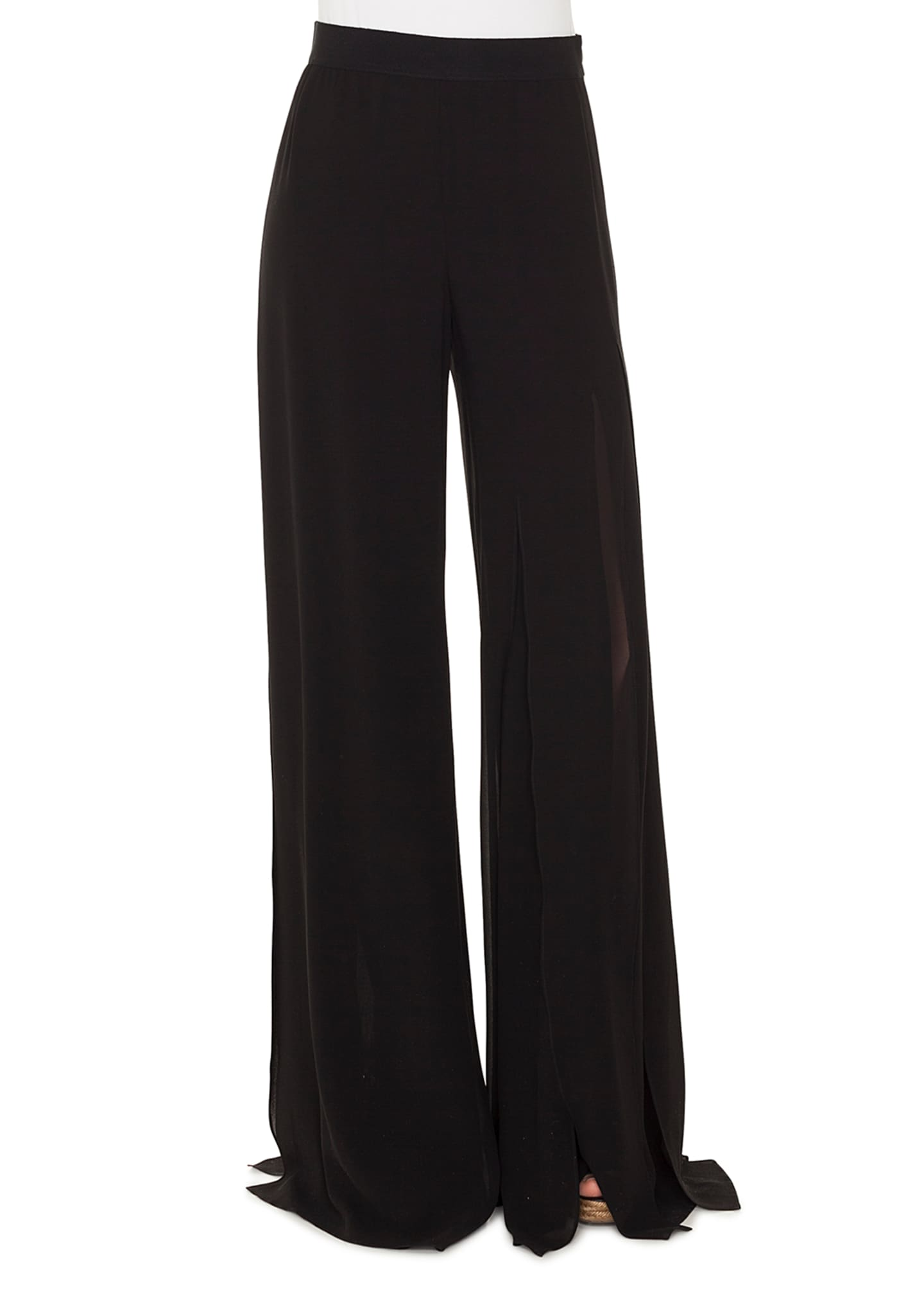 Akris Triple-Layer Silk Georgette Slit Wide-Leg Pants