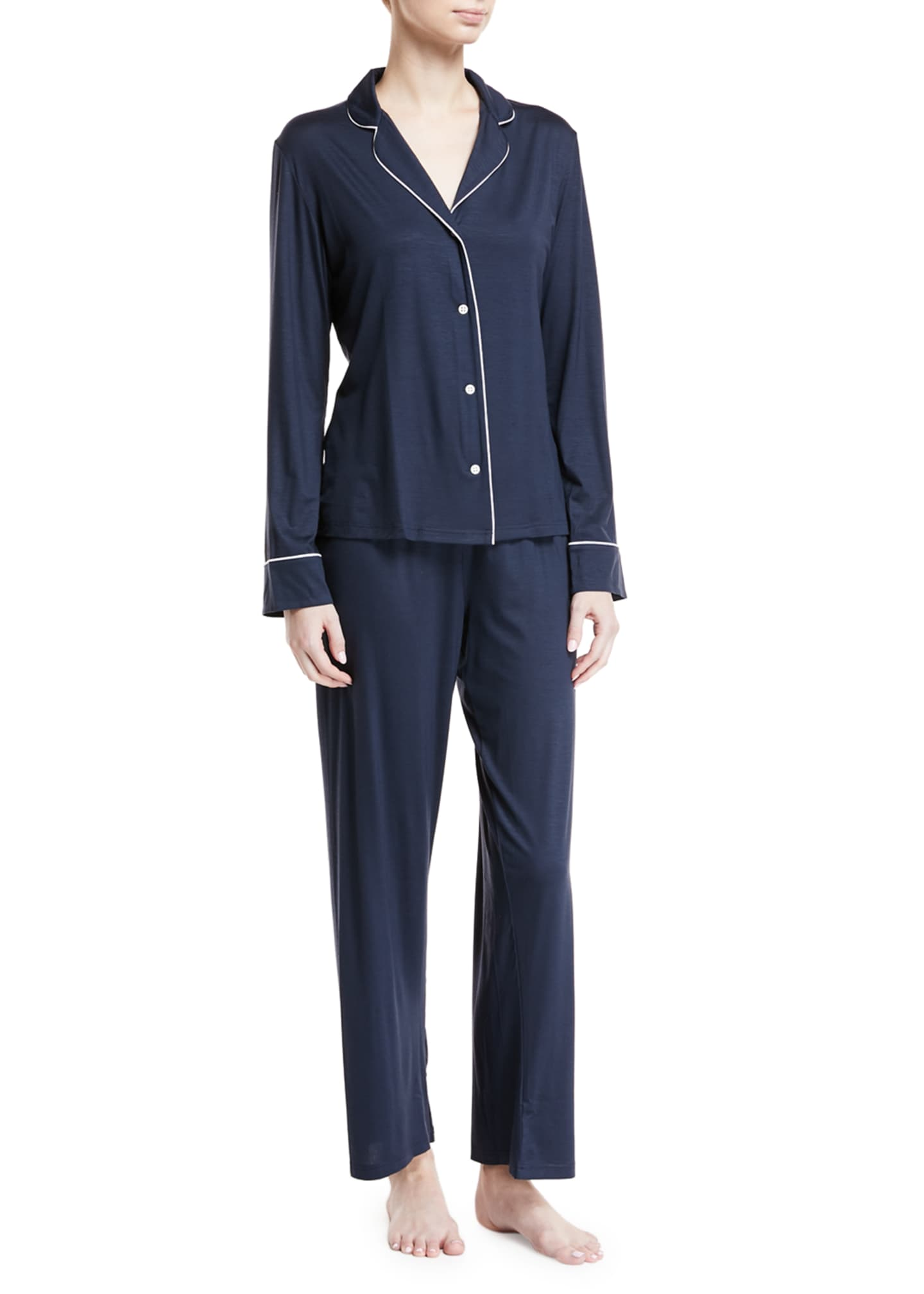 Derek Rose Carla Classic Piped Knit Pajama Set