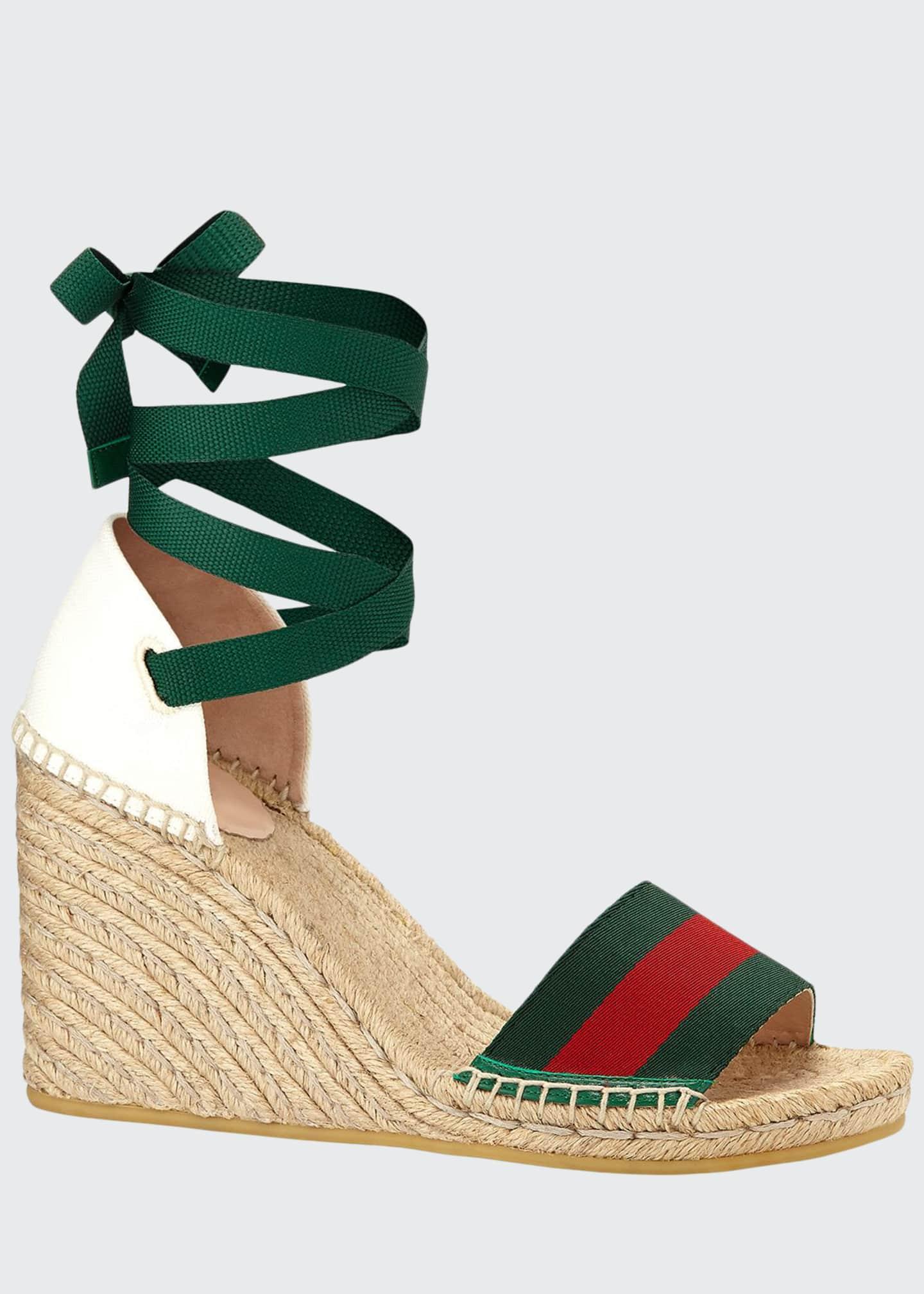Gucci Lilibeth Grg Anklewrap Wedge Espadrille