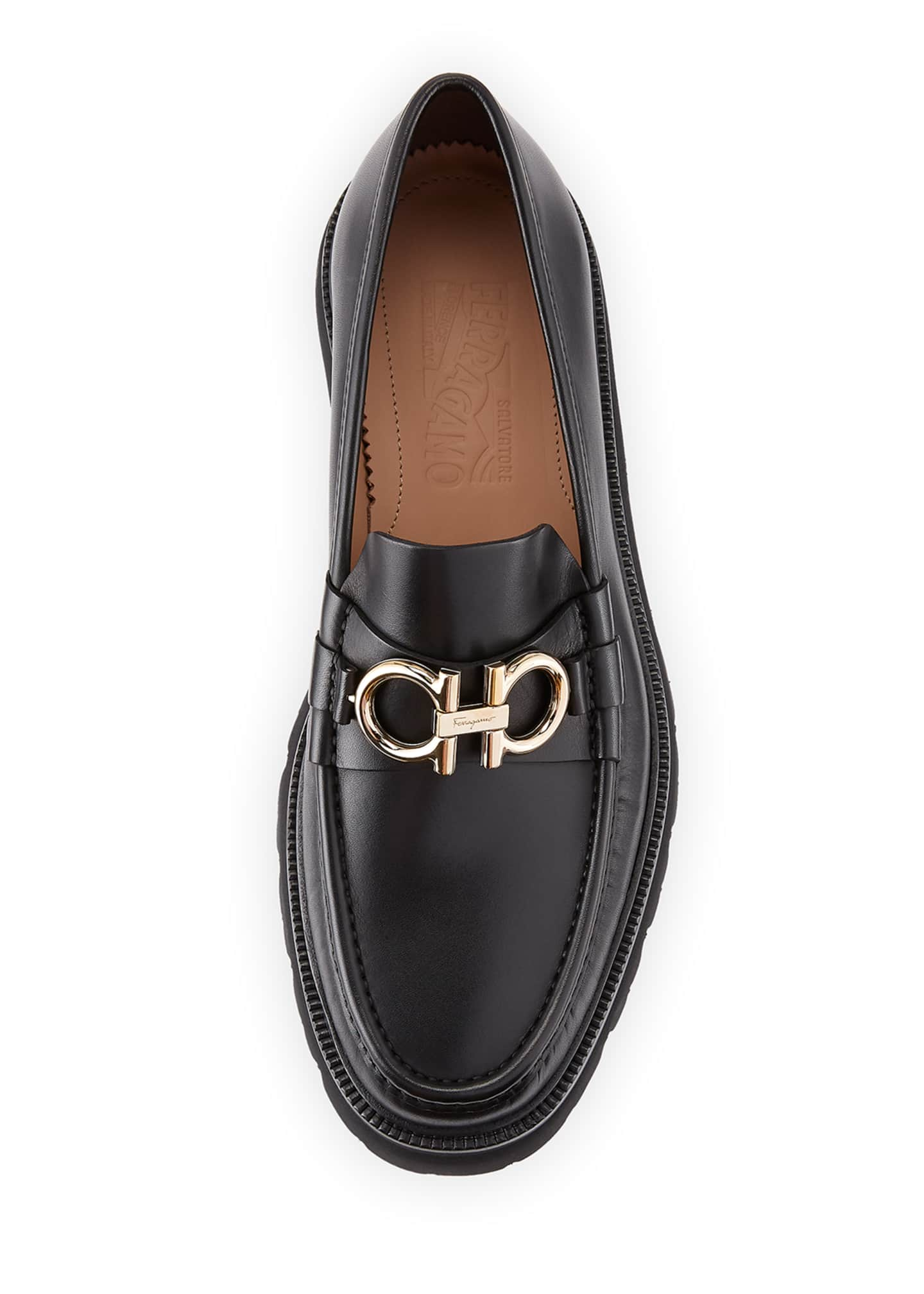Image 2 of 3: Men's Bleecker Leather Lug-Sole Loafers with Reversible Bit