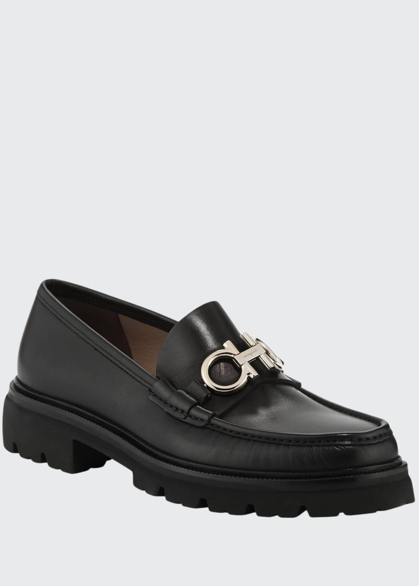 Salvatore Ferragamo Men's Bleecker Leather Lug-Sole Loafers with