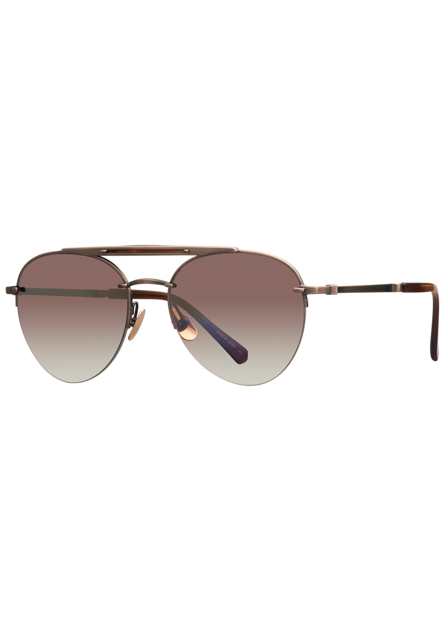 Mr. Leight Platinum Plated Titanium Aviator Sunglasses w/