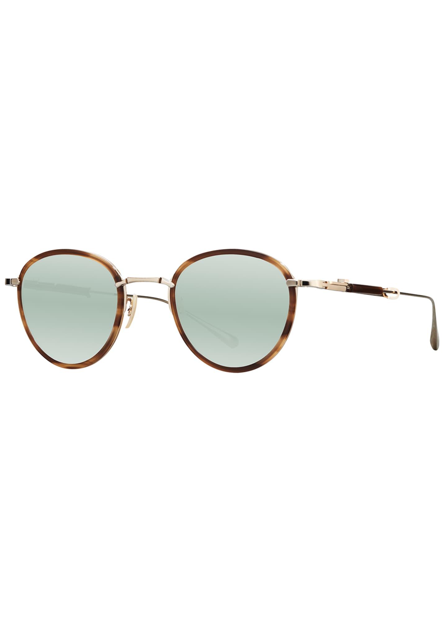Mr. Leight Round Mirrored Titanium & Acetate Sunglasses,