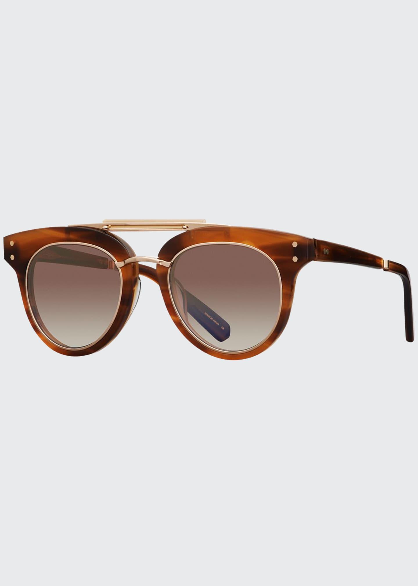 Mr. Leight Gradient Acetate Cat-Eye Sunglasses, Brown Pattern