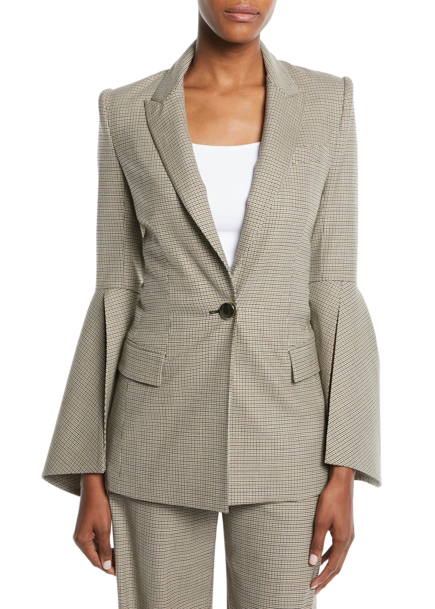 Prabal Gurung Bell-Sleeve One-Button Houndstooth Jacket
