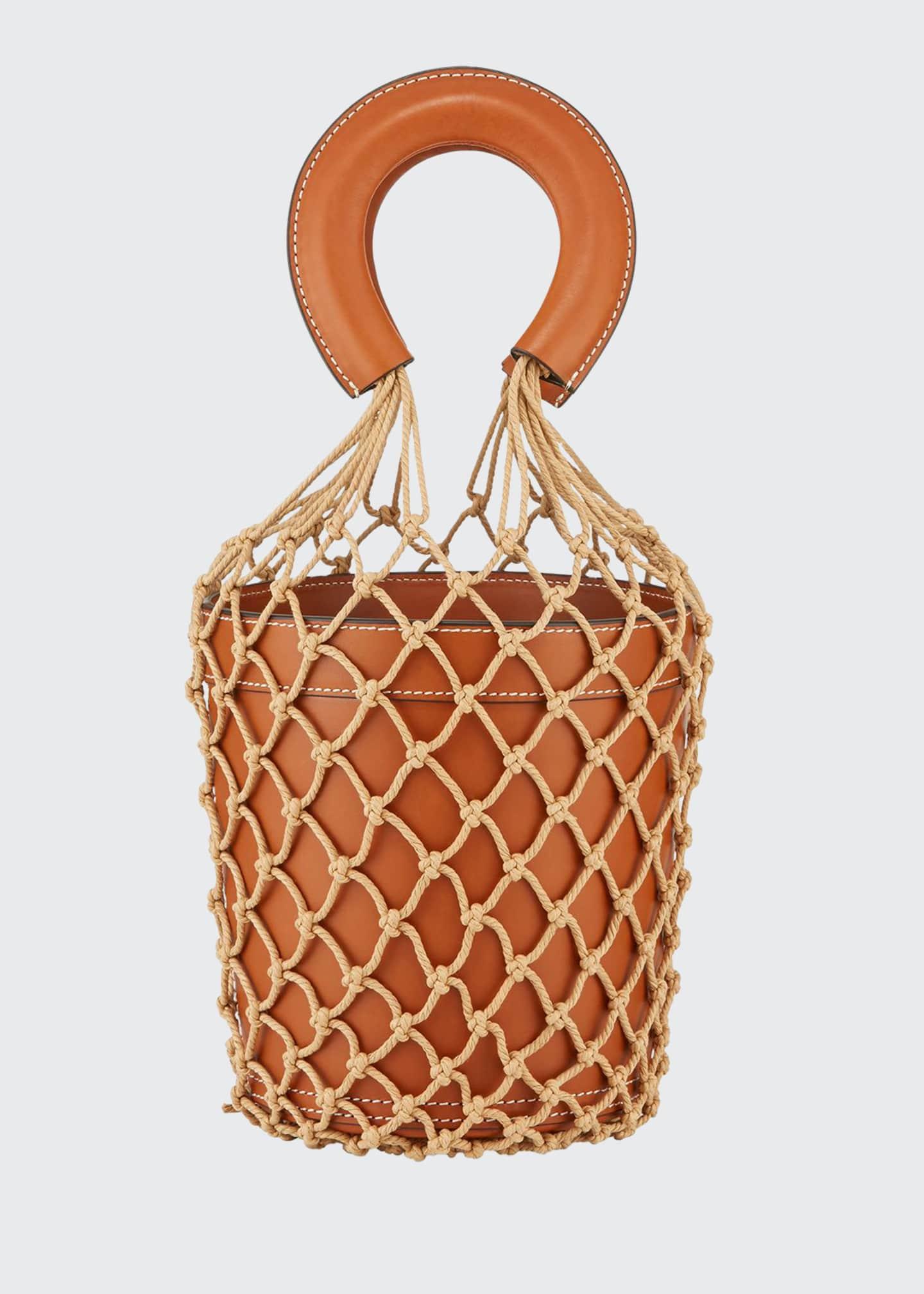 Staud Moreau Leather and Net Bucket Bag