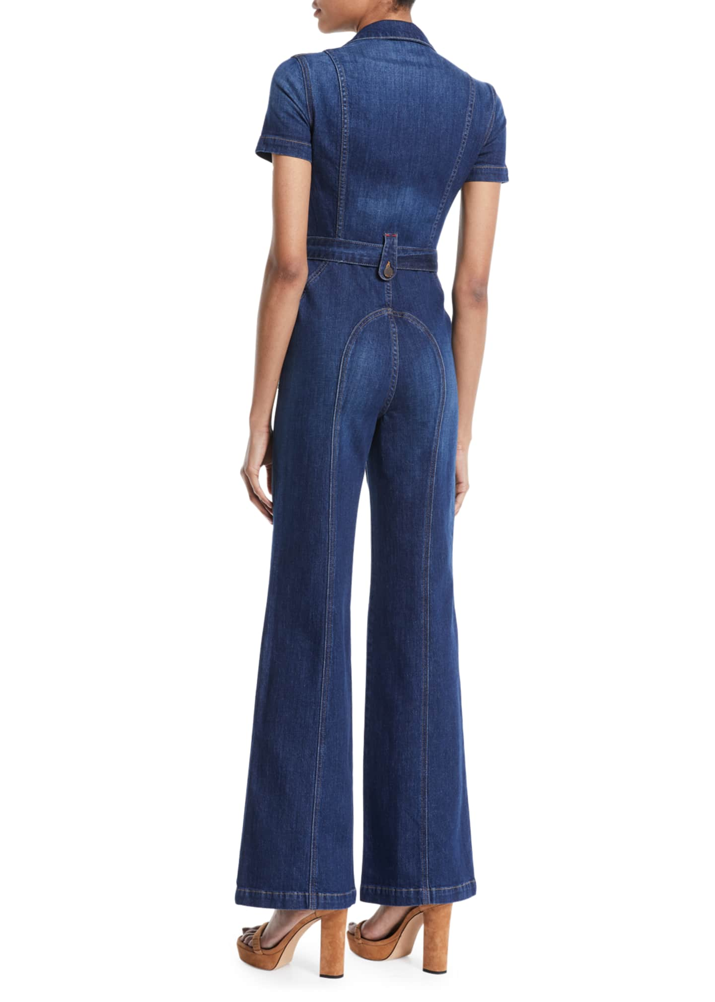 Image 2 of 2: Gorgeous Wide-Leg Fitted Denim Jumpsuit