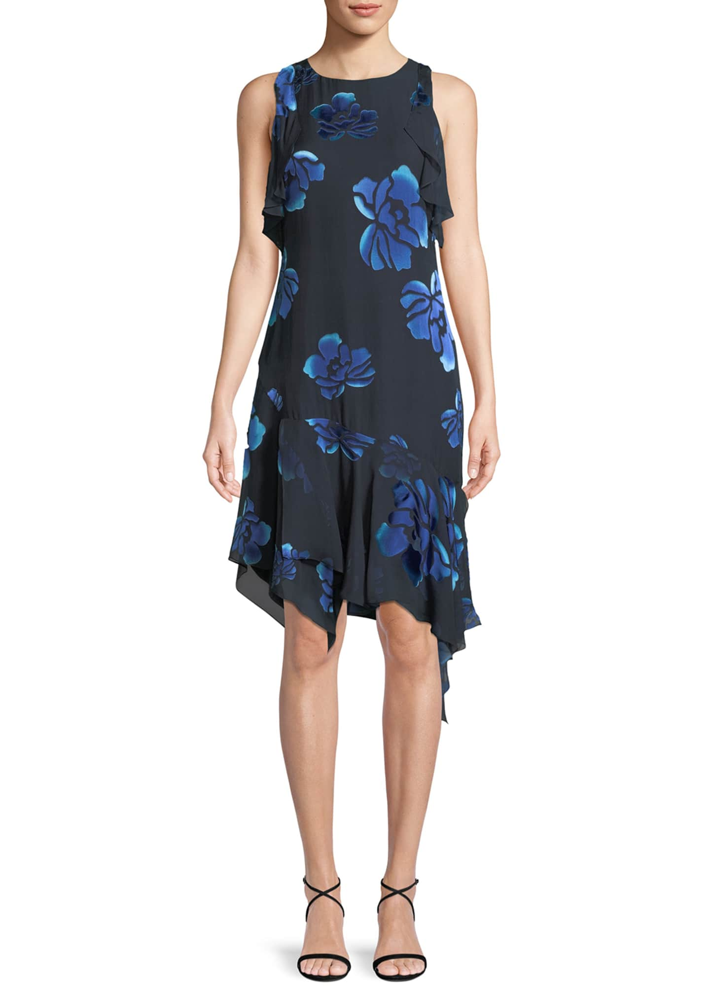 Elie Tahari Serenity Floral-Burnout Ruffled Dress