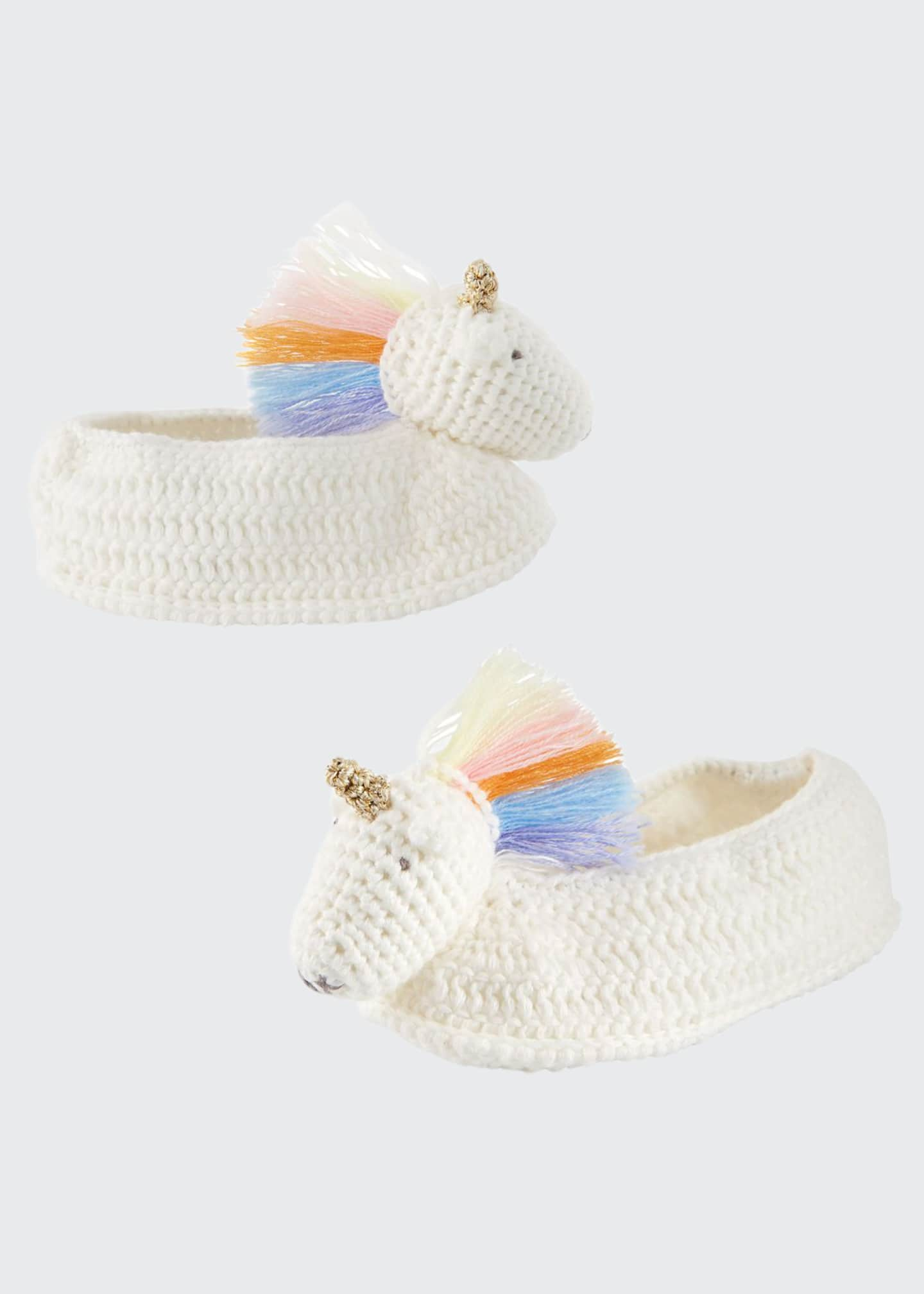 Albetta Rainbow Unicorn Crochet Booties, Baby