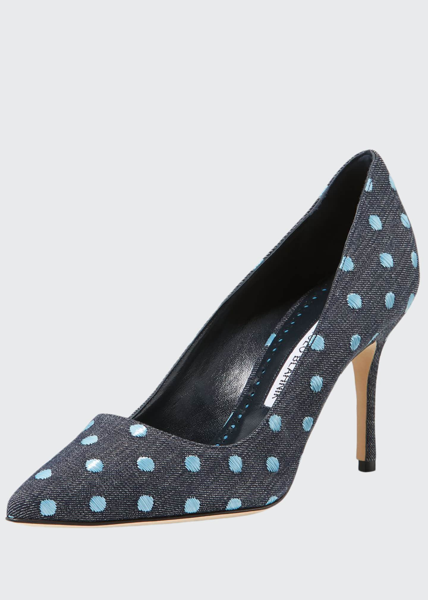 Manolo Blahnik BB 90mm Dot Painted Canvas Pump