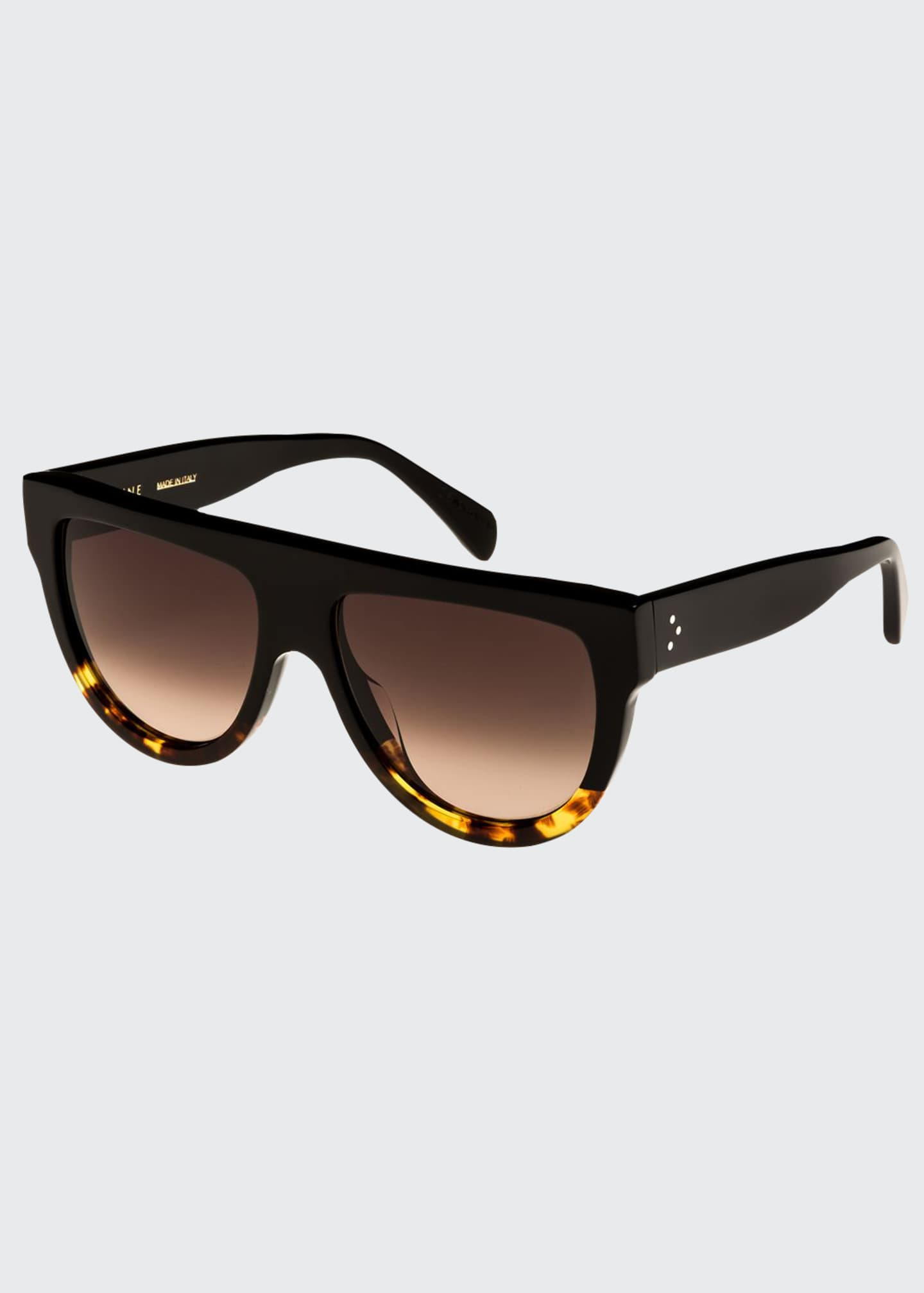 Celine Flattop Two-Tone Shield Sunglasses, Black Pattern